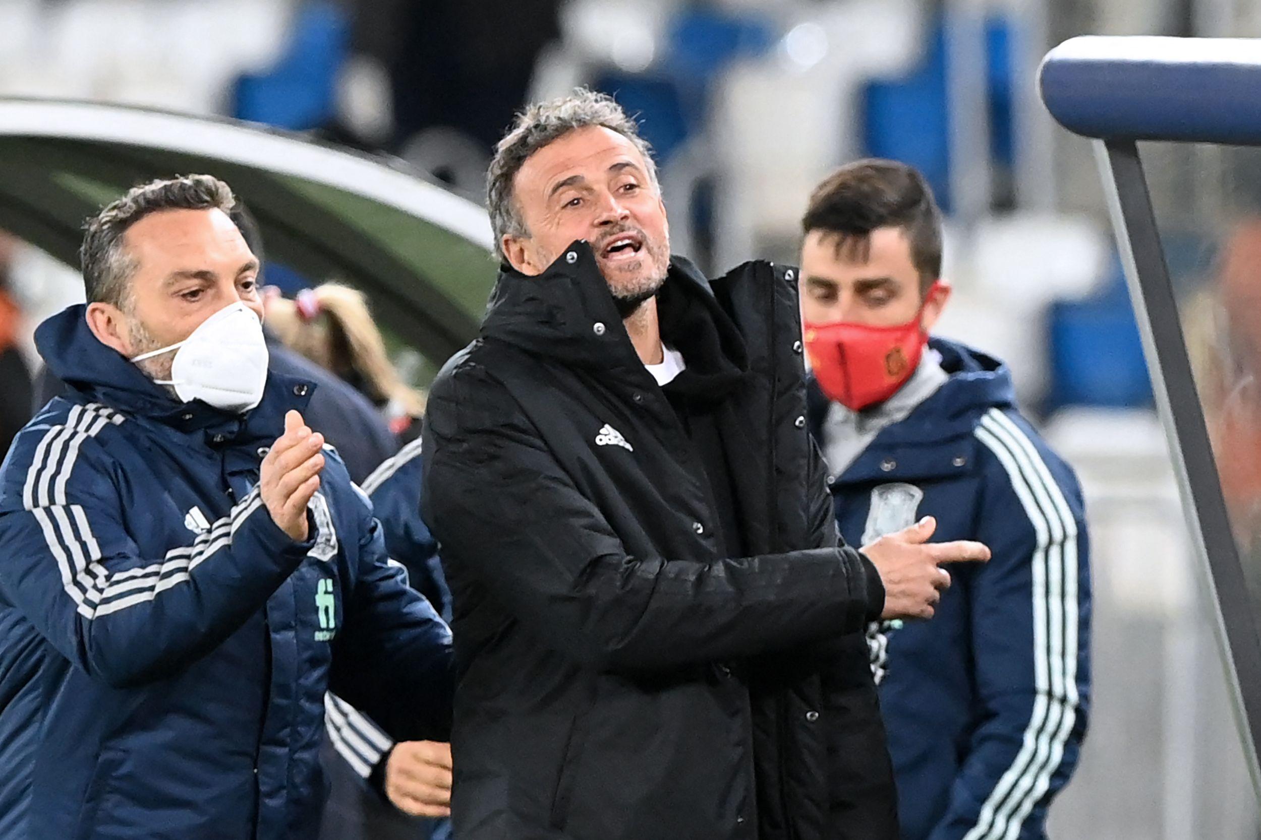 Luis Enrique, junto a su psicólogo, durante el partido.