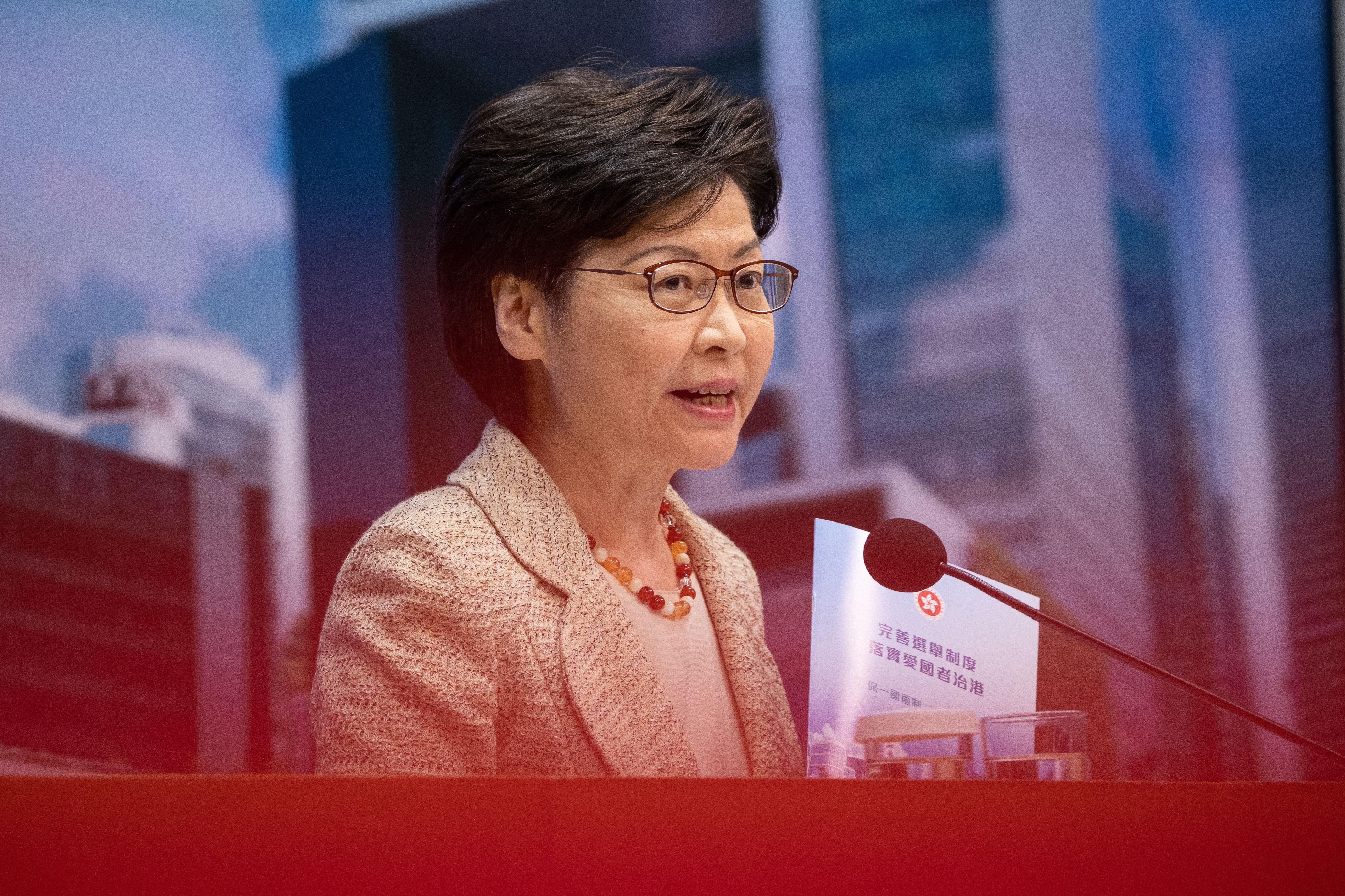 La jefa del Ejecutivo hongkonés, Carrie Lam.