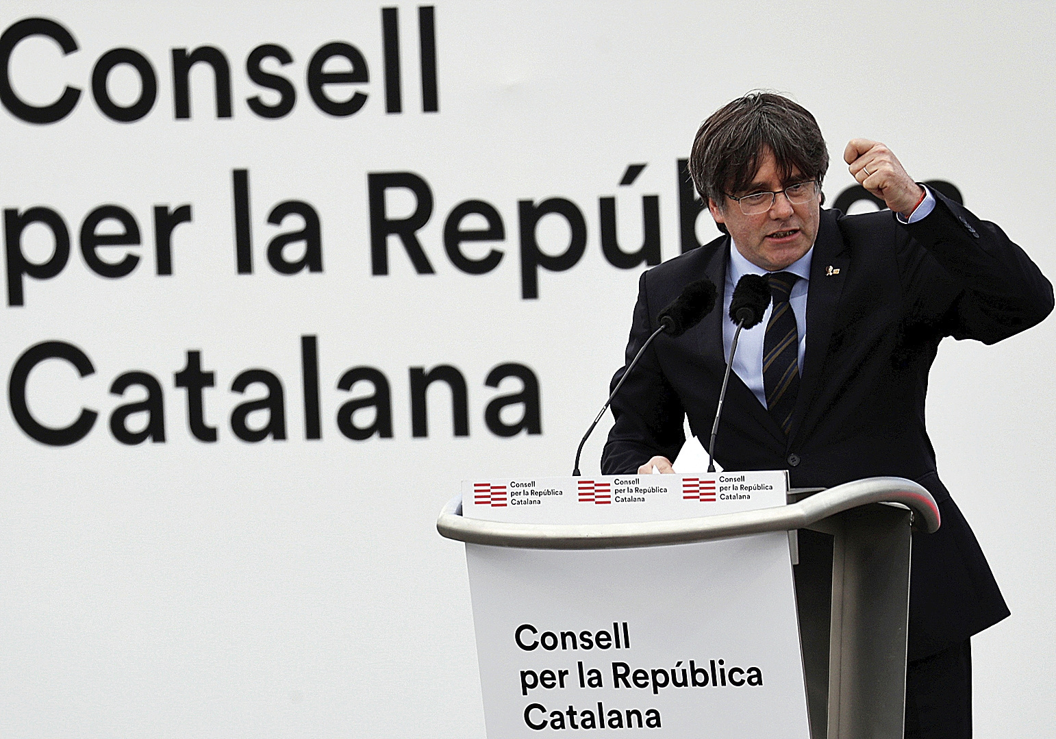 Carles Puigdemont en un mitin en Perpignan en febrero de 2020