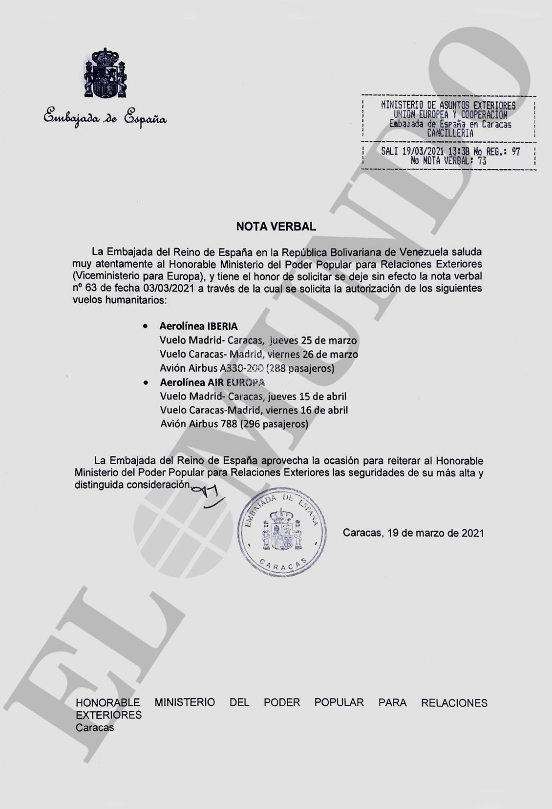 Comunicación de la Embajada de España al Gobierno venezolano en la que renuncia solicitar permisos de vuelo para Iberia y Air Europa