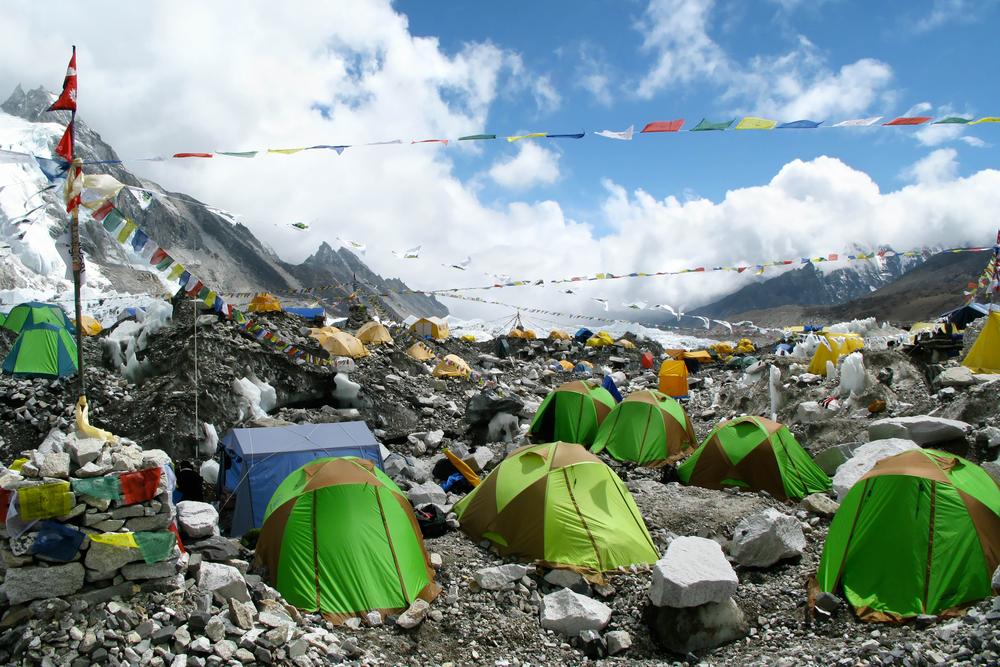 Aspecto del campamento base del Everest antes de la pandemia.