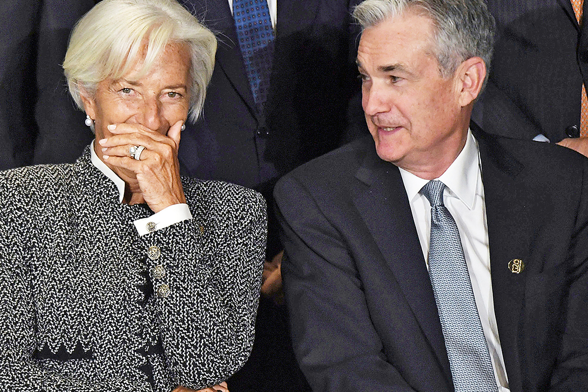 La presidenta del Banco Central Europeo, Christine Lagarde, y el gobernador de la Reserva Federal de Estados Unidos, Jerome Powell.