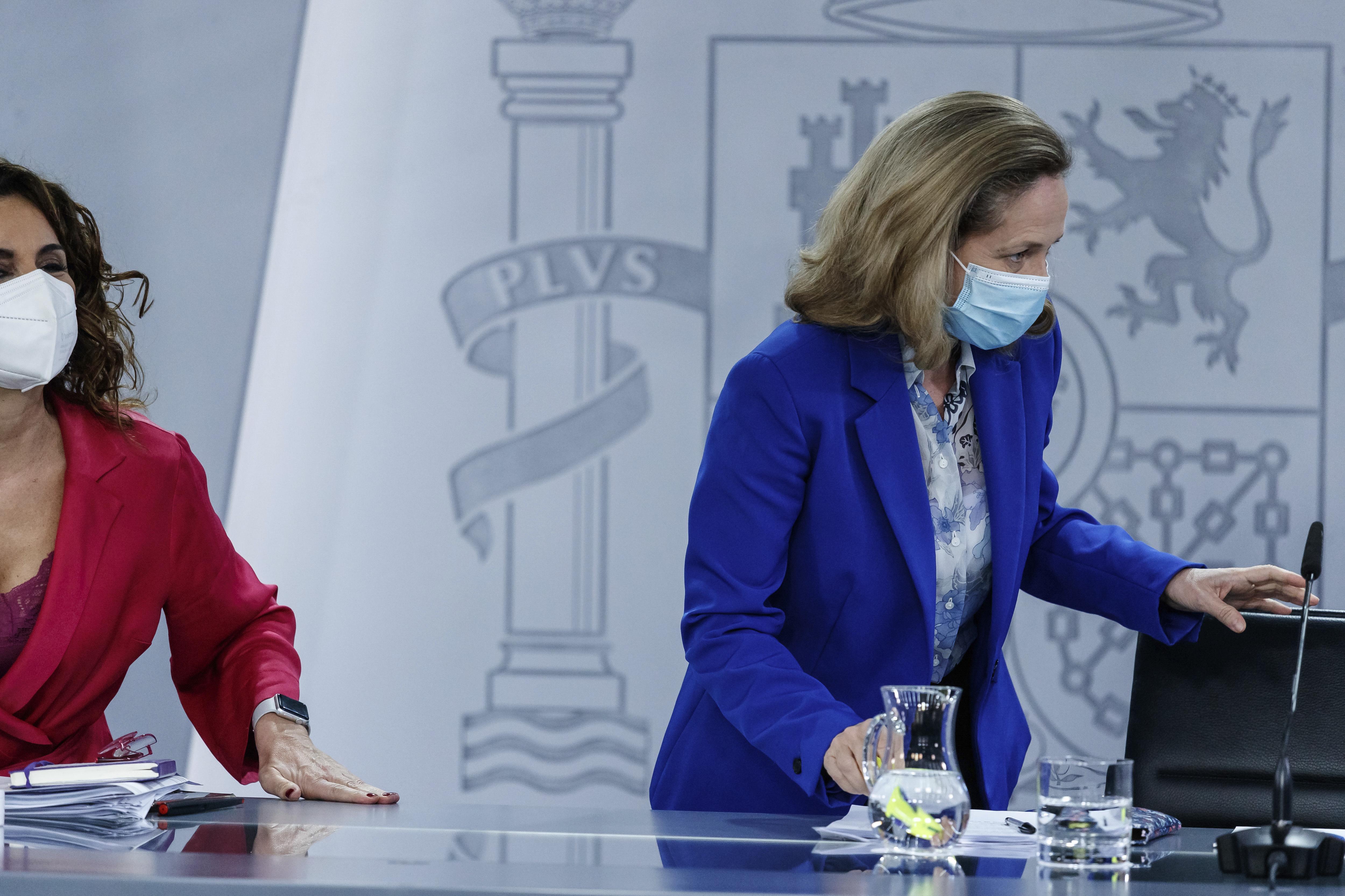 Rueda de prensa posterior al Consejo de Ministros extraordinario. María Jesús Montero, Nadia  lt;HIT gt;Calviño lt;/HIT gt;