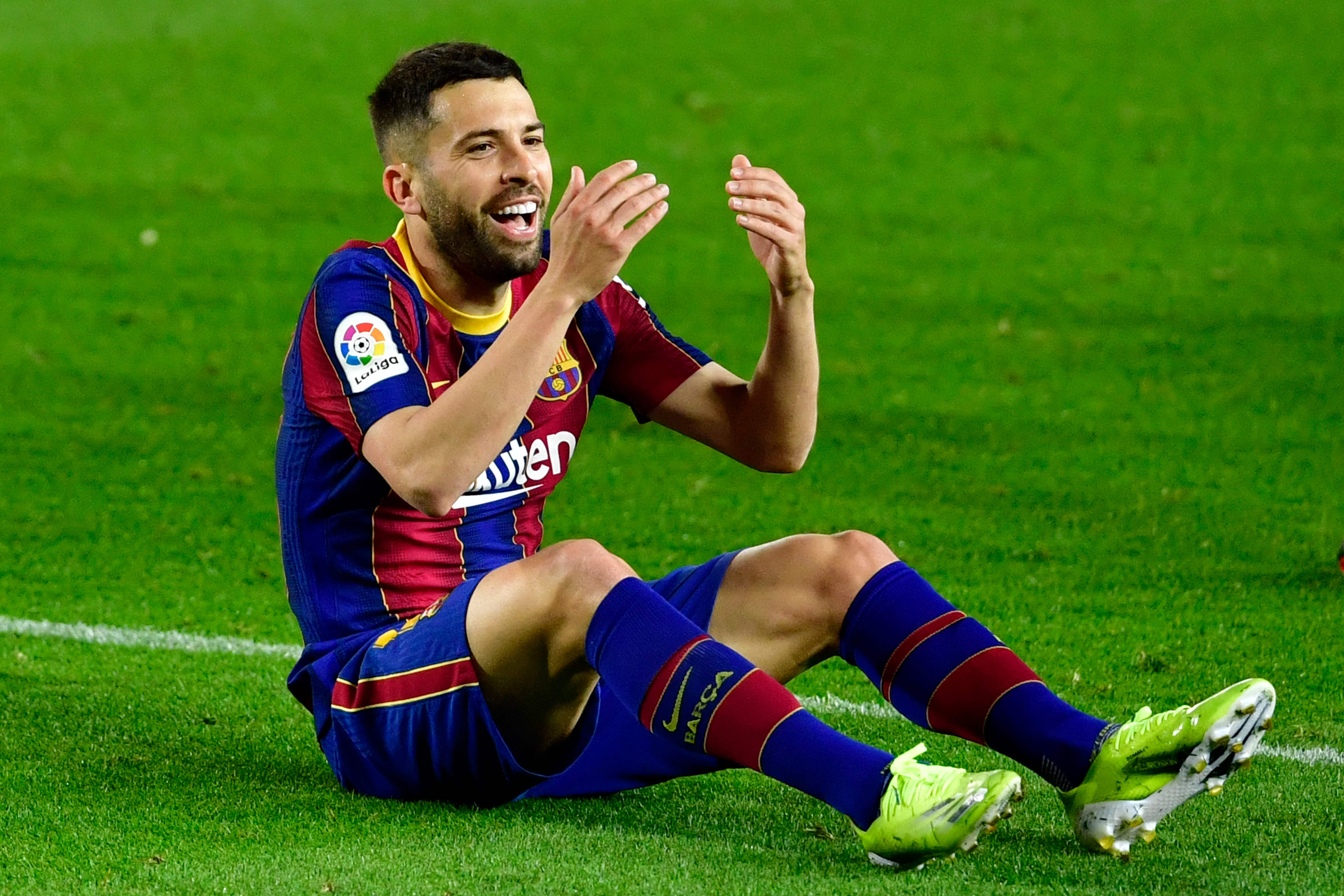 Jordi Alba,  durante el partido ante el Valladolid.
