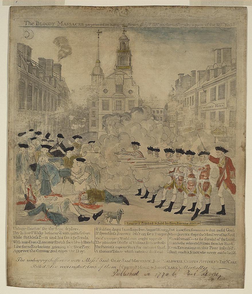 Los disturbios de Boston de 1774, representados en un folleto patriota.
