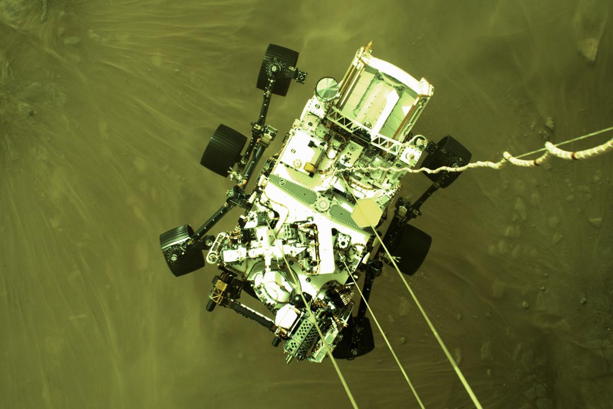 El Perseverance llegando a Marte.