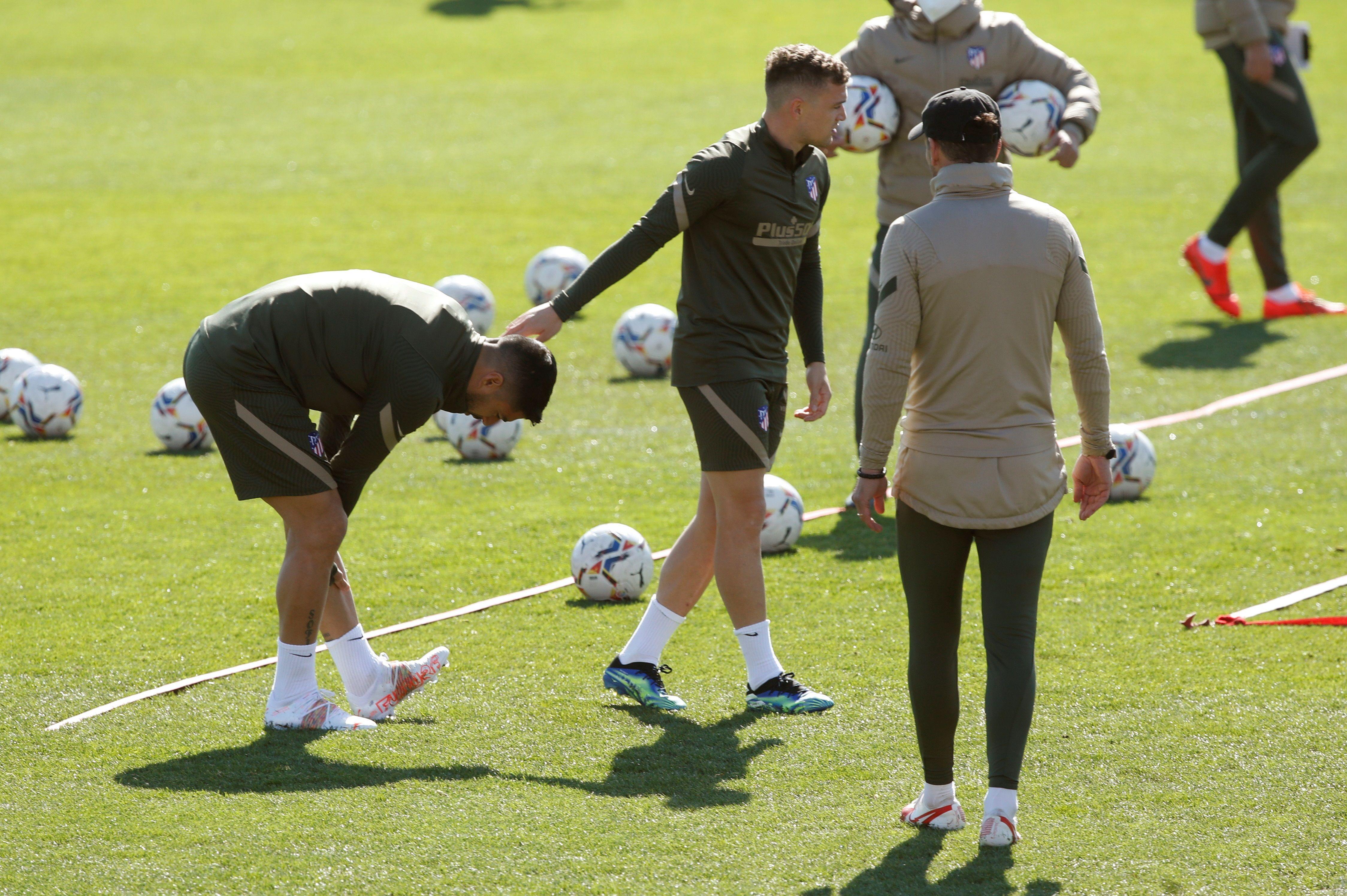 Luis Suárez, durante el entrenamiento de hoy.