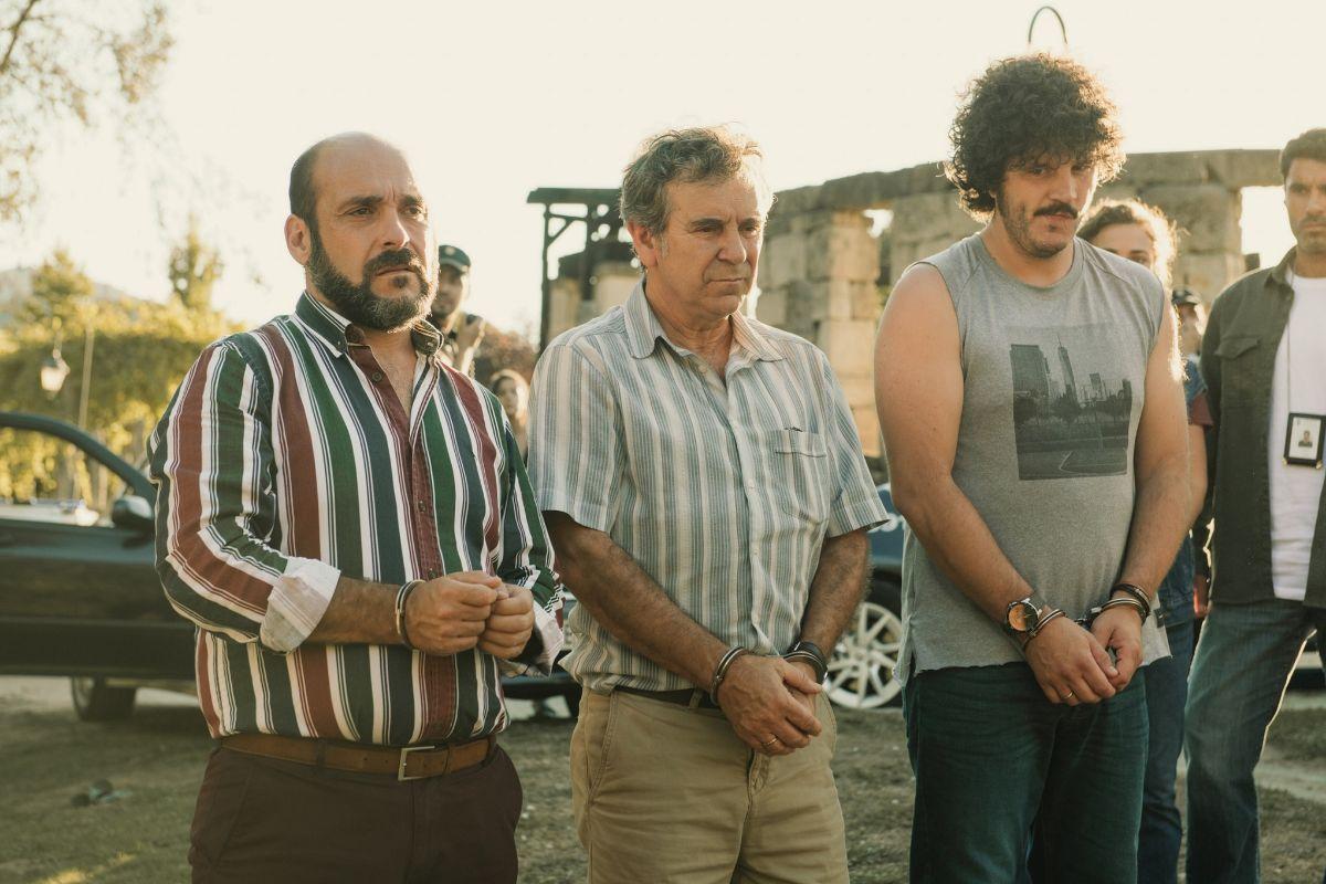 De izda. a dcha., Xosé A. Touriñán, Miguel de Lira, Federico Pérez, protagonistas de 'Cuñados'.