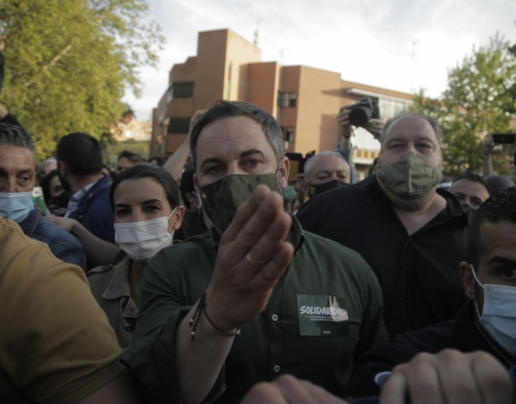 Santiago Abascal y Rocío Monasterio, a su llegada al mitin
