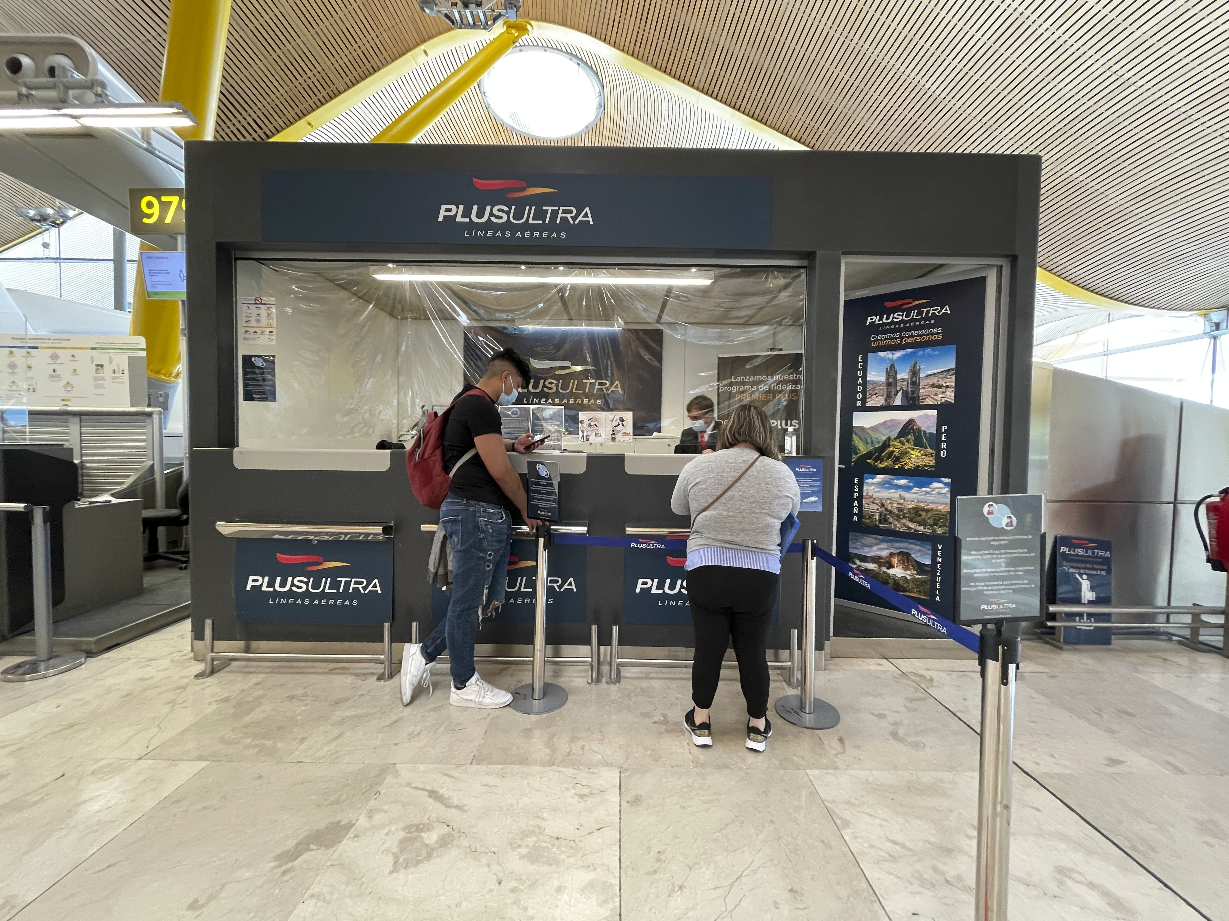 Oficina de Plus Ultra el pasado martes en Barajas