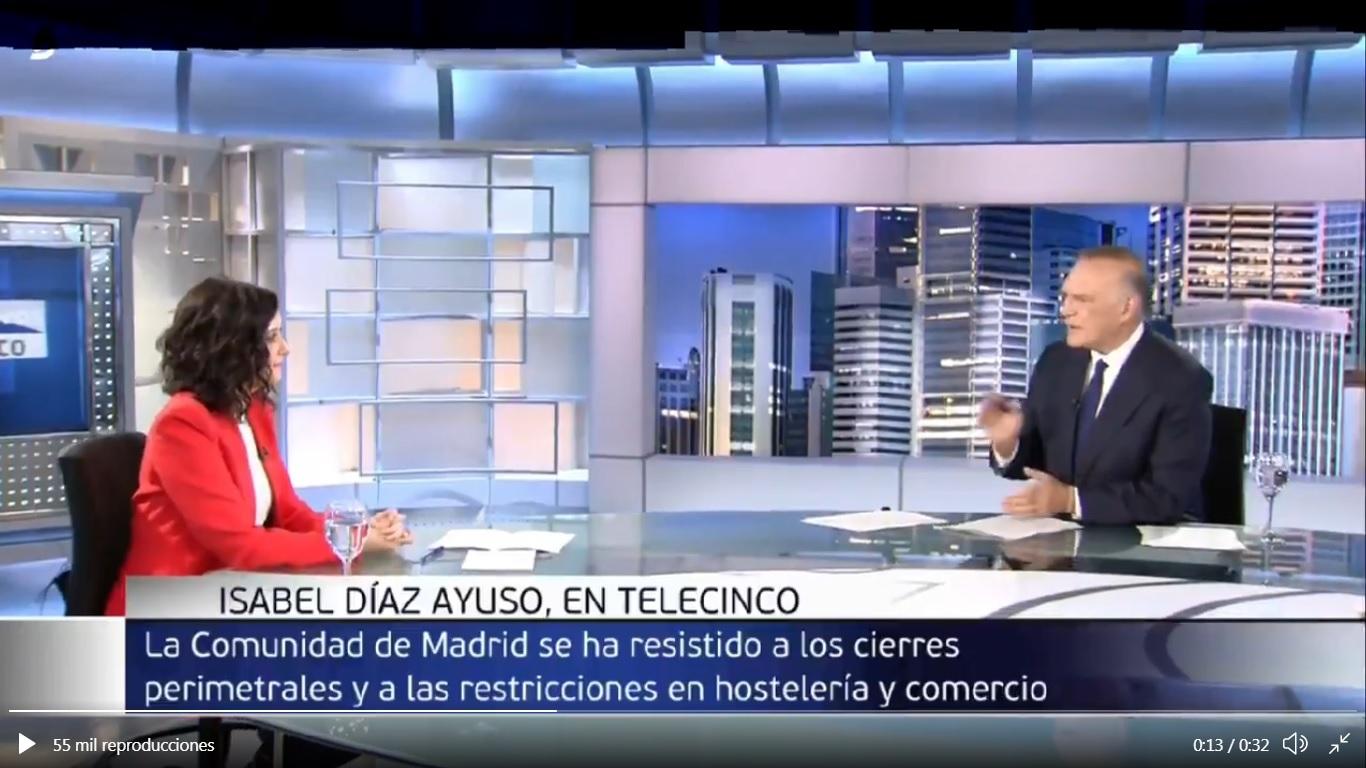 Un momento de la entrevista a Isabel Díaz Ayuso en Telecinco.