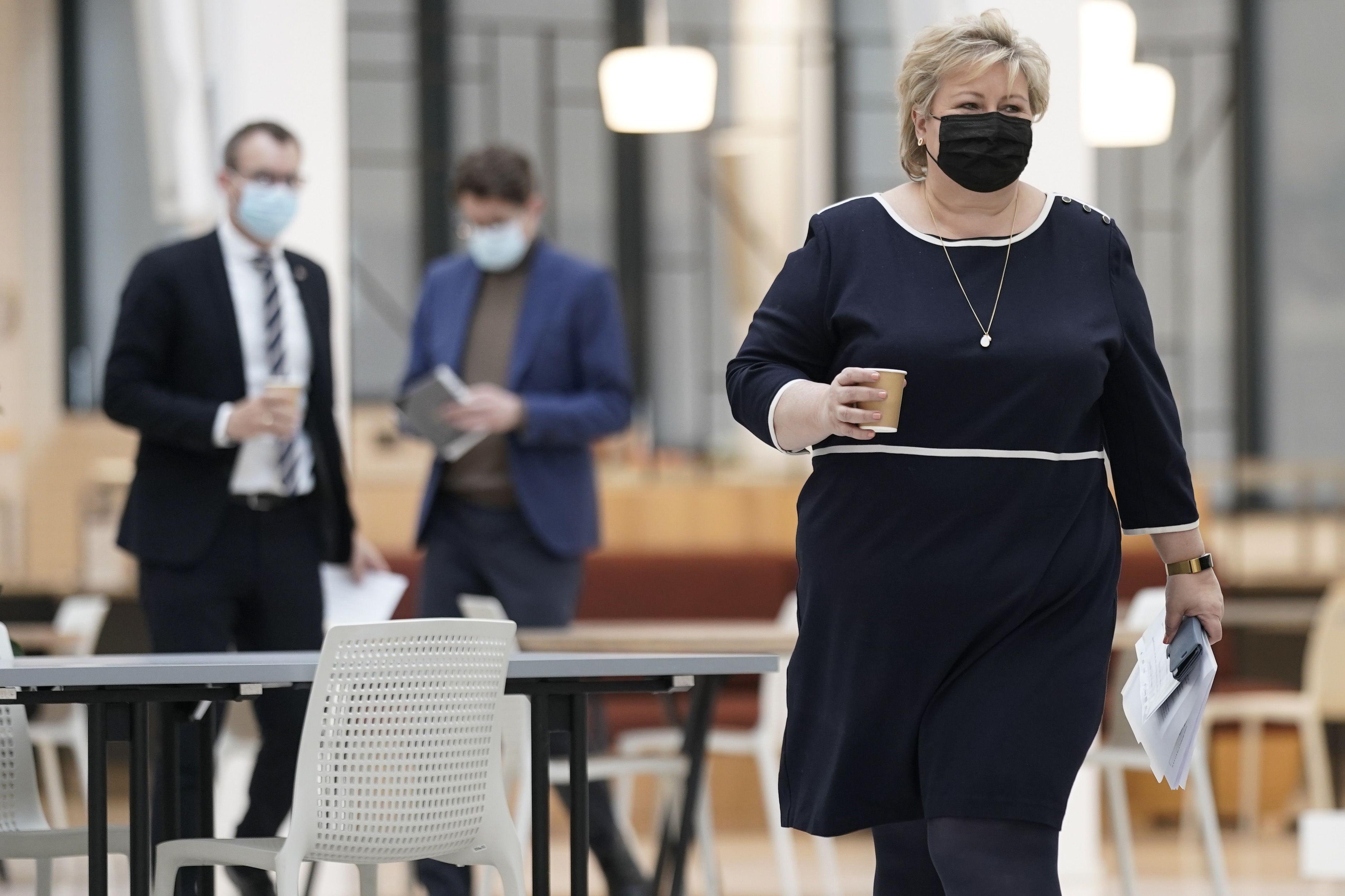La primera ministra de Noruega, Erna Solberg, este viernes.