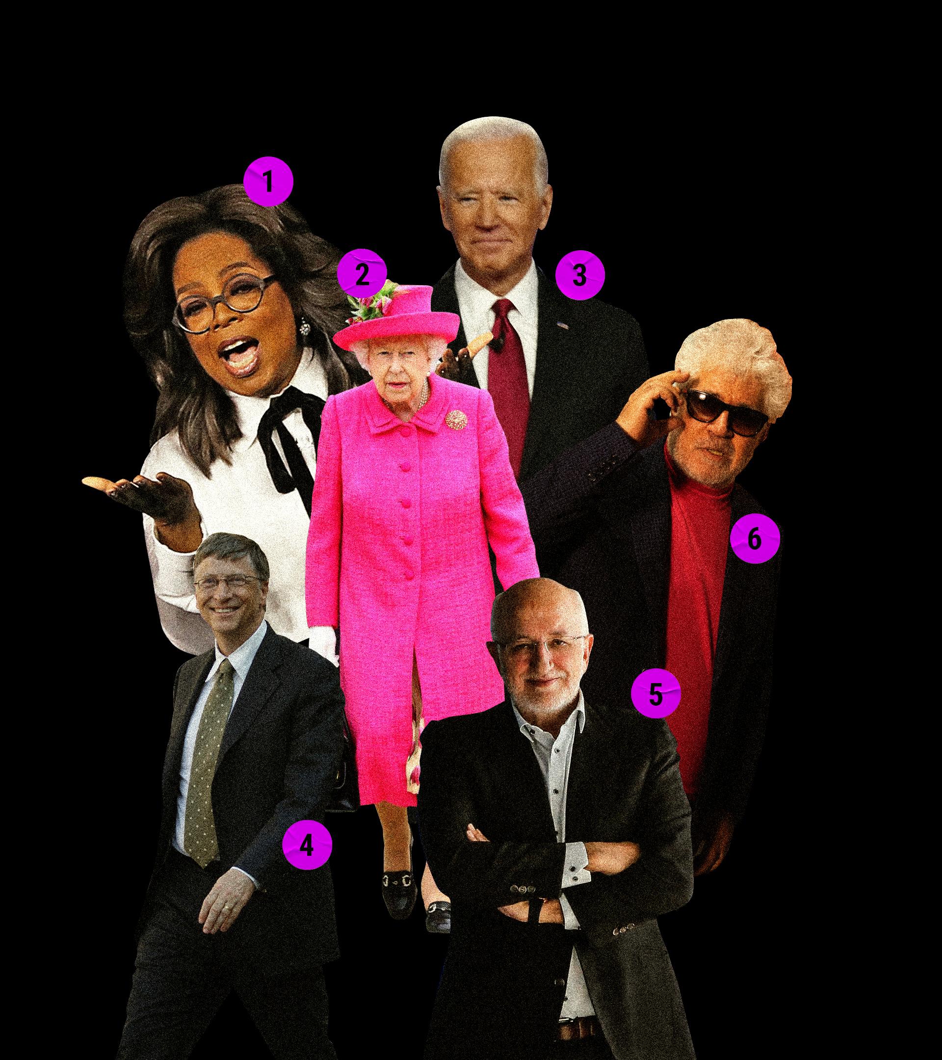 1. Oprah Winfrey 2. Isabel II 3. Joe Biden 4. Bill Gates 5. Juan Roig 6. Pedro Almodóvar