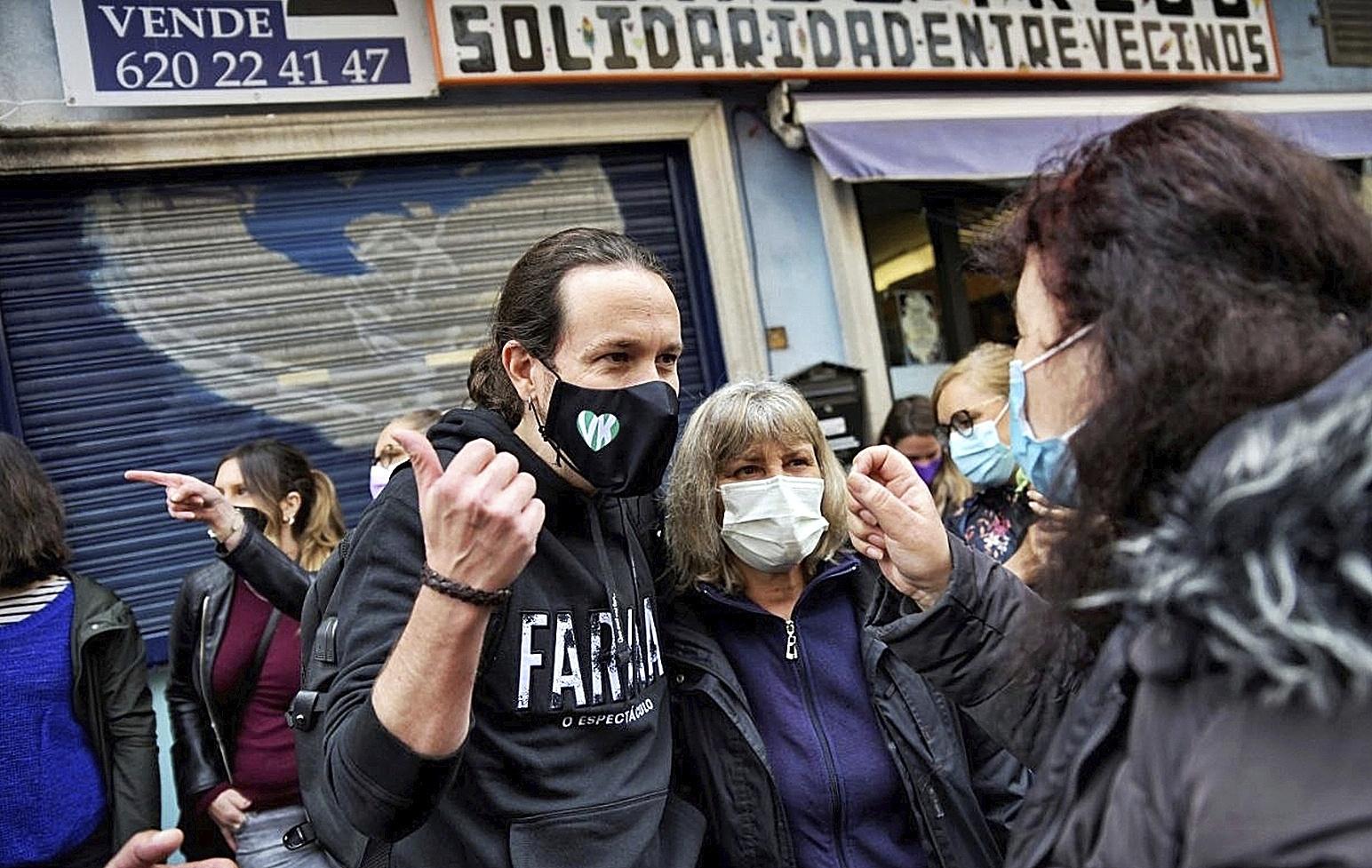 El candidato de Unidas Podemos, Pablo Iglesias, durante un acto en Vallecas.