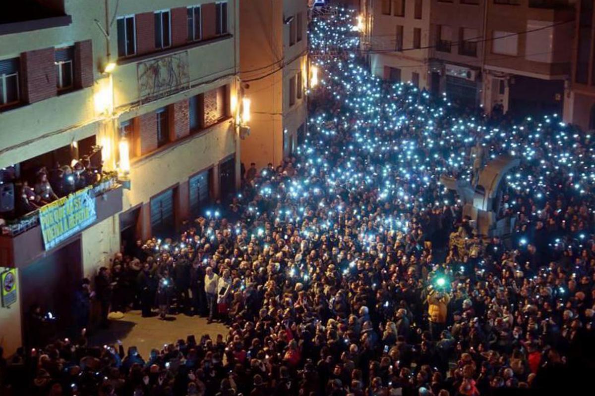 Manifestación en Andorra (Teruel) tras los asesinatos.