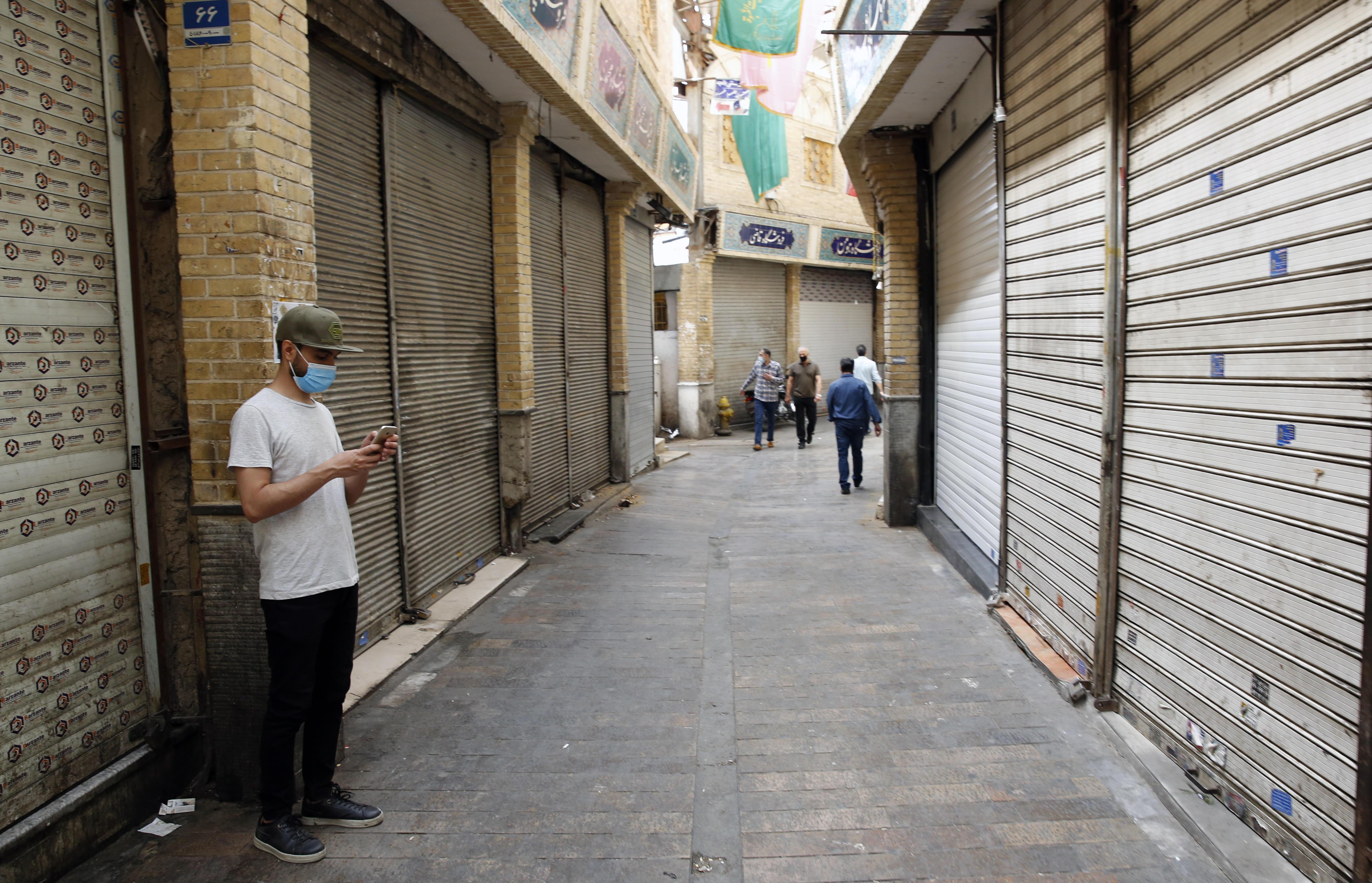 Tiendas cerradas en el bazar de Tajrish, en Teherán.