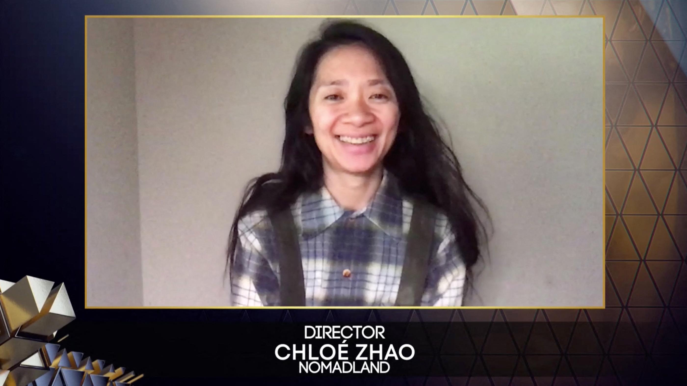 Chloé Zhao, directora de 'Nomaland',  en los Bafta.