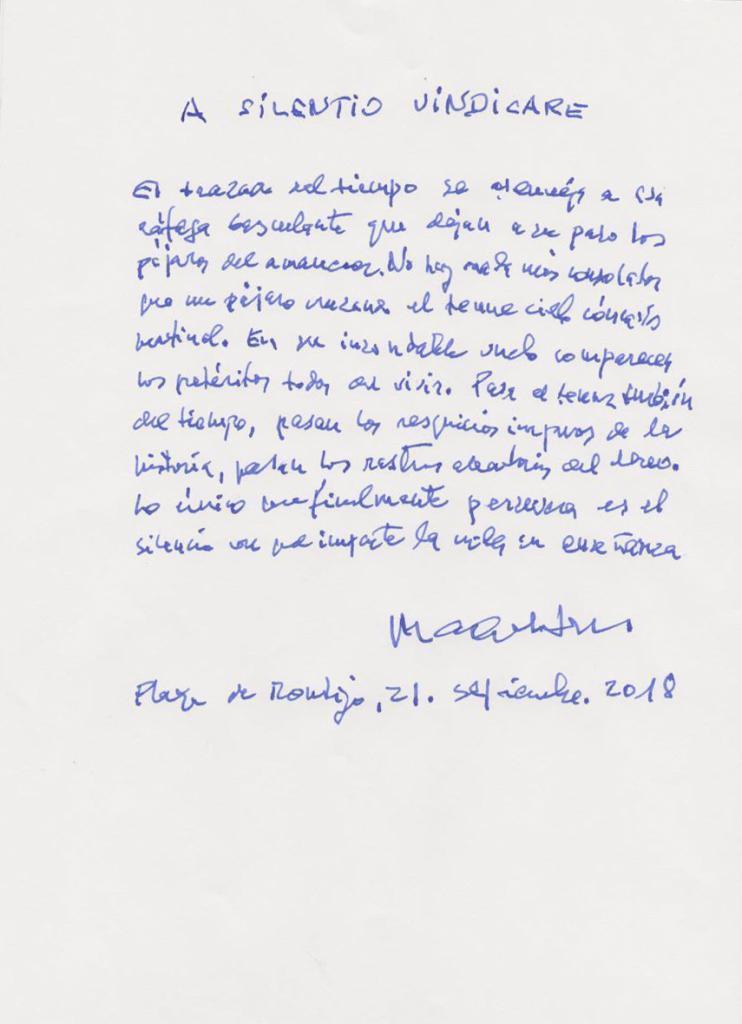 Poema manuscrito de Caballero Bonald, fechado en 2018.