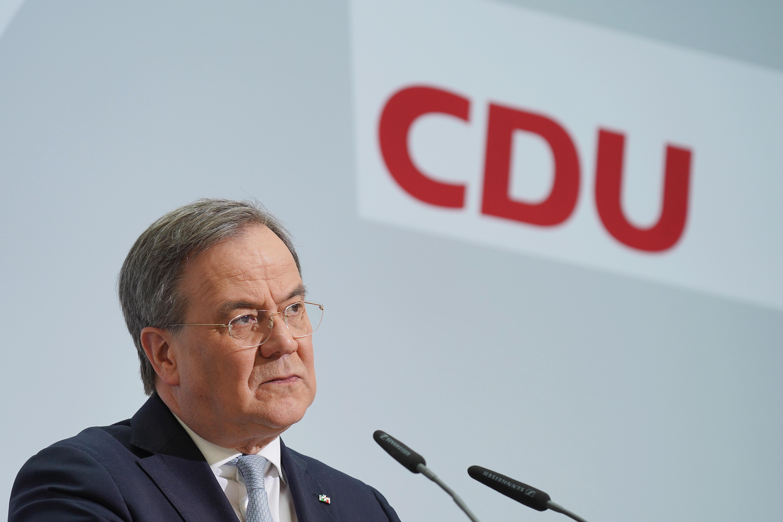 Armin Laschet, líder de la Unión Cristianodemócrata (CDU), en la rueda de prensa de este lunes.
