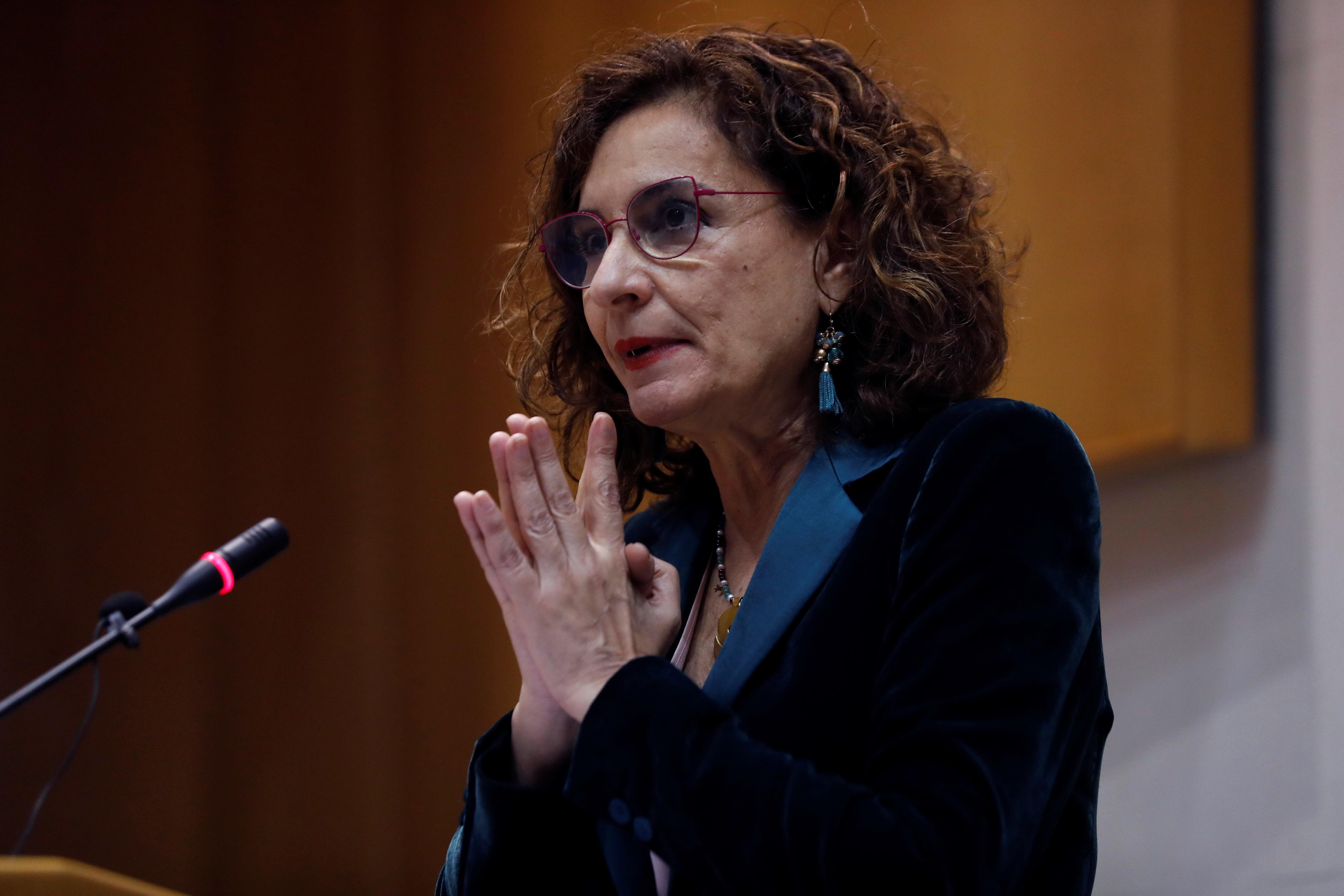 La ministra de Hacienda, María Jesús Montero, en el Instituto de Estudios Fiscales (IEF) en Madrid este lunes .