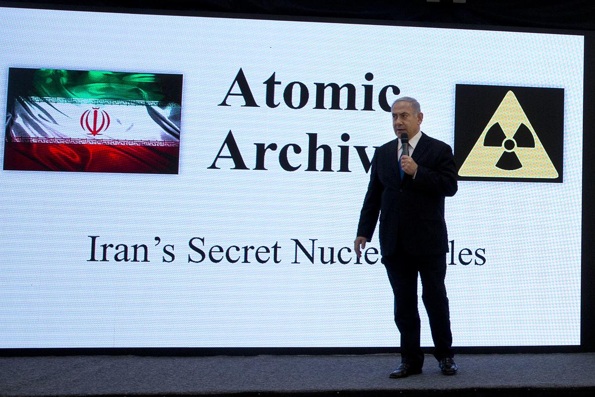Benjamin Netanyahu, en una intervención sobre el programa nuclear iraní en 2018.
