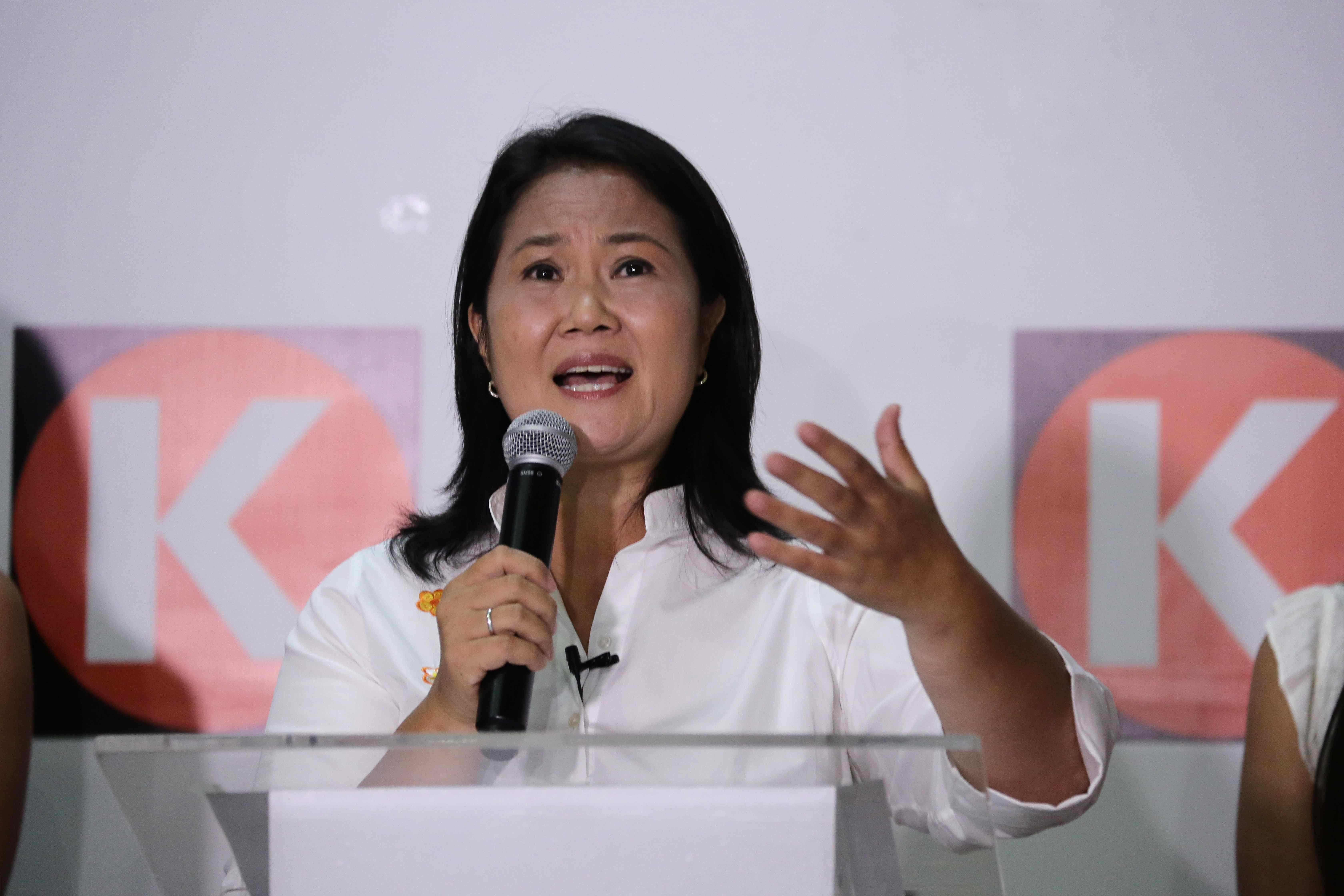 The candidate for the presidency of Peru for the Popular Force party, Keiko Fujimori.