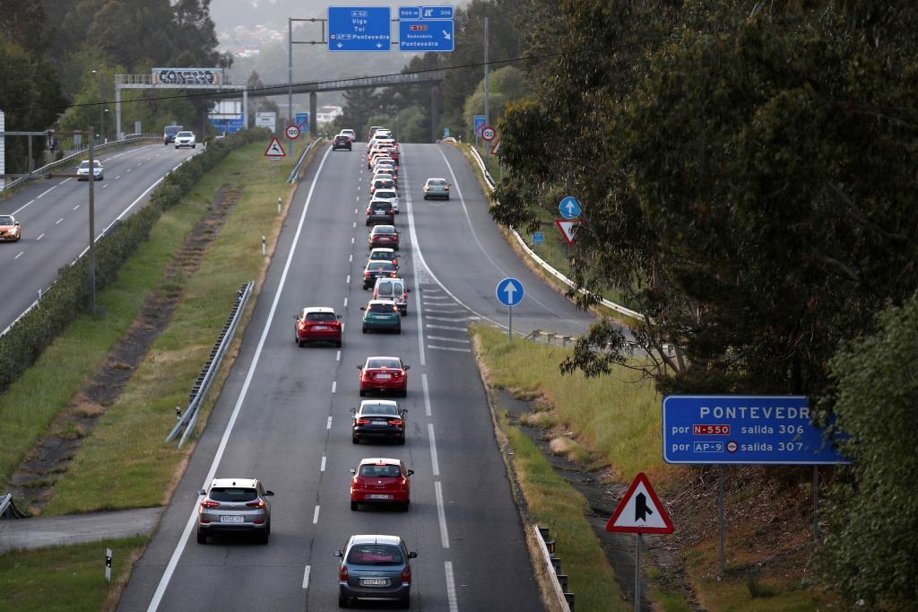 Tráfico en una carretera española.