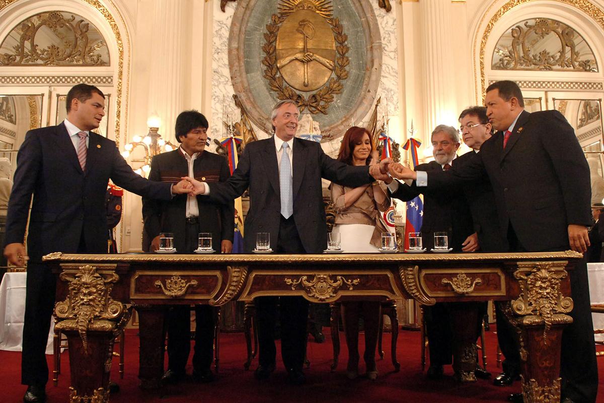 Firma de la creación del Banco del Sur en 2007.