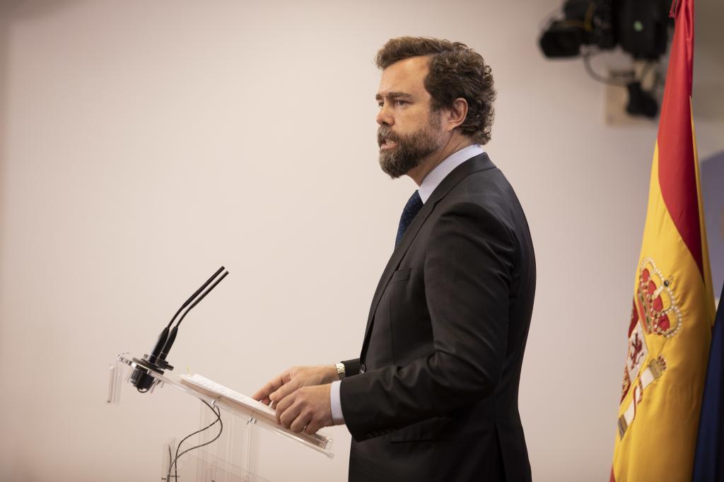 El portavoz de Vox, Iván Espinosa de los Monteros, este martes en el Congreso.