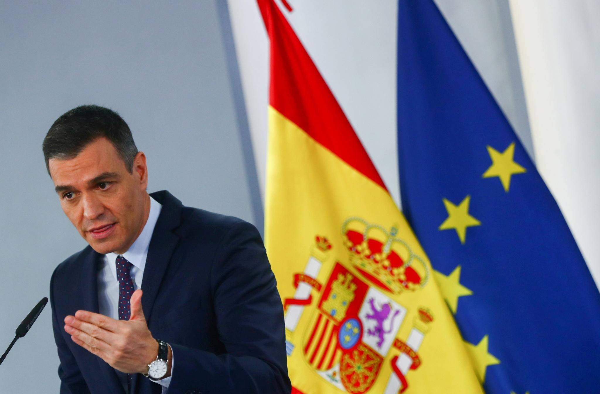 Pedro Sánchez, este martes, en una rueda de prensa, en La Moncloa.