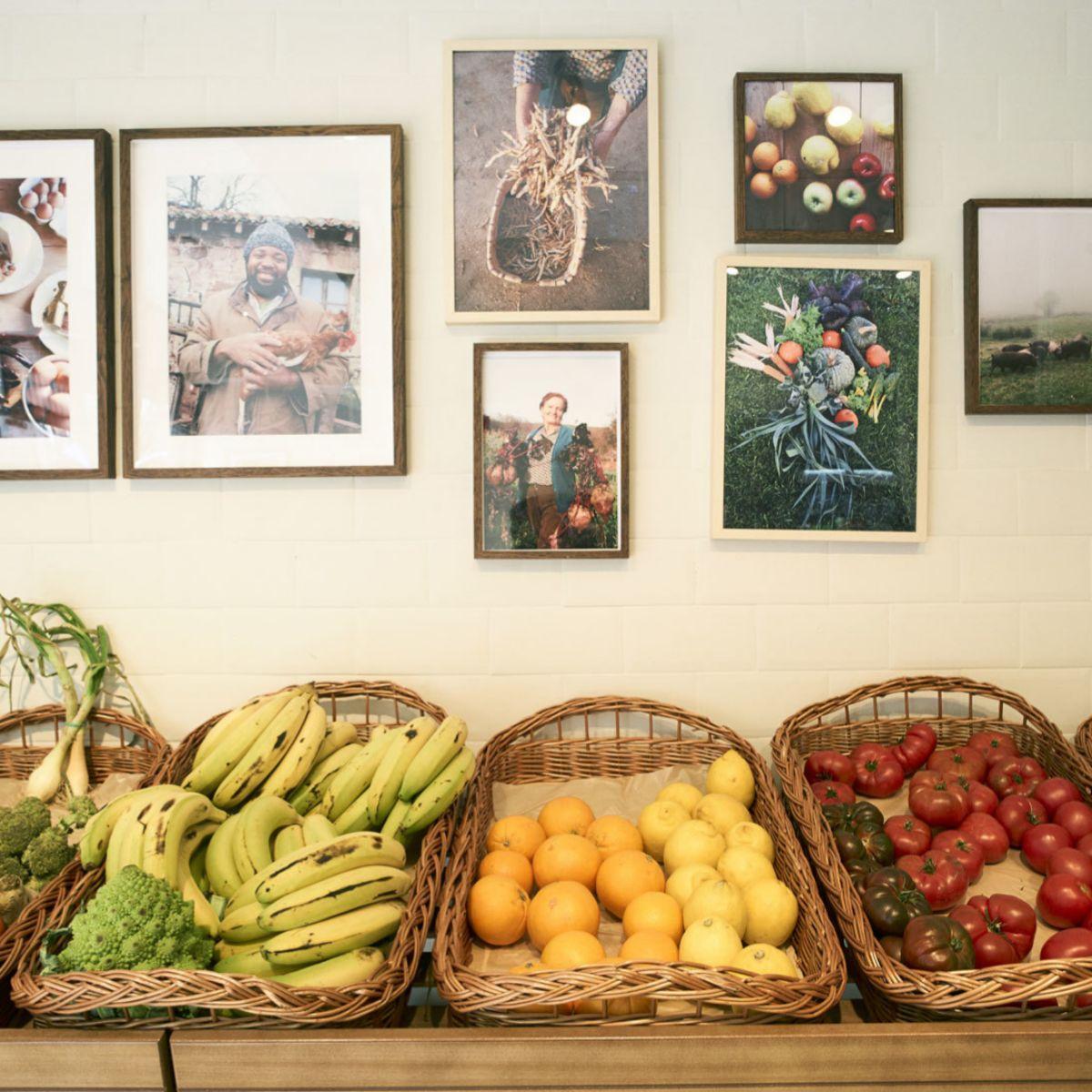 Muestra de frutas y verduras de cultivo ecológico.