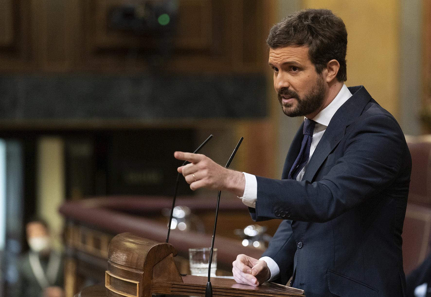 El líder del PP, Pablo Casado, durante su intervención en el Congreso.