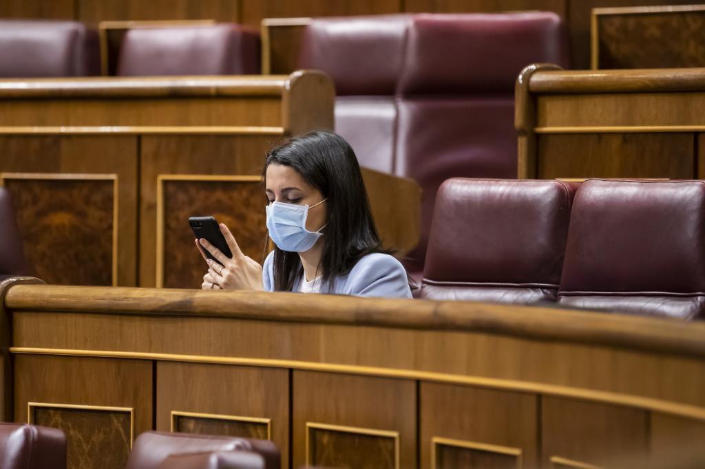 Inés Arrimadas, el miércoles, durante el Pleno del Congreso.