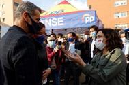 Toni Cantó e Isabel Díaz Ayuso, el miércoles, en un acto de precampaña del PP en Madrid.