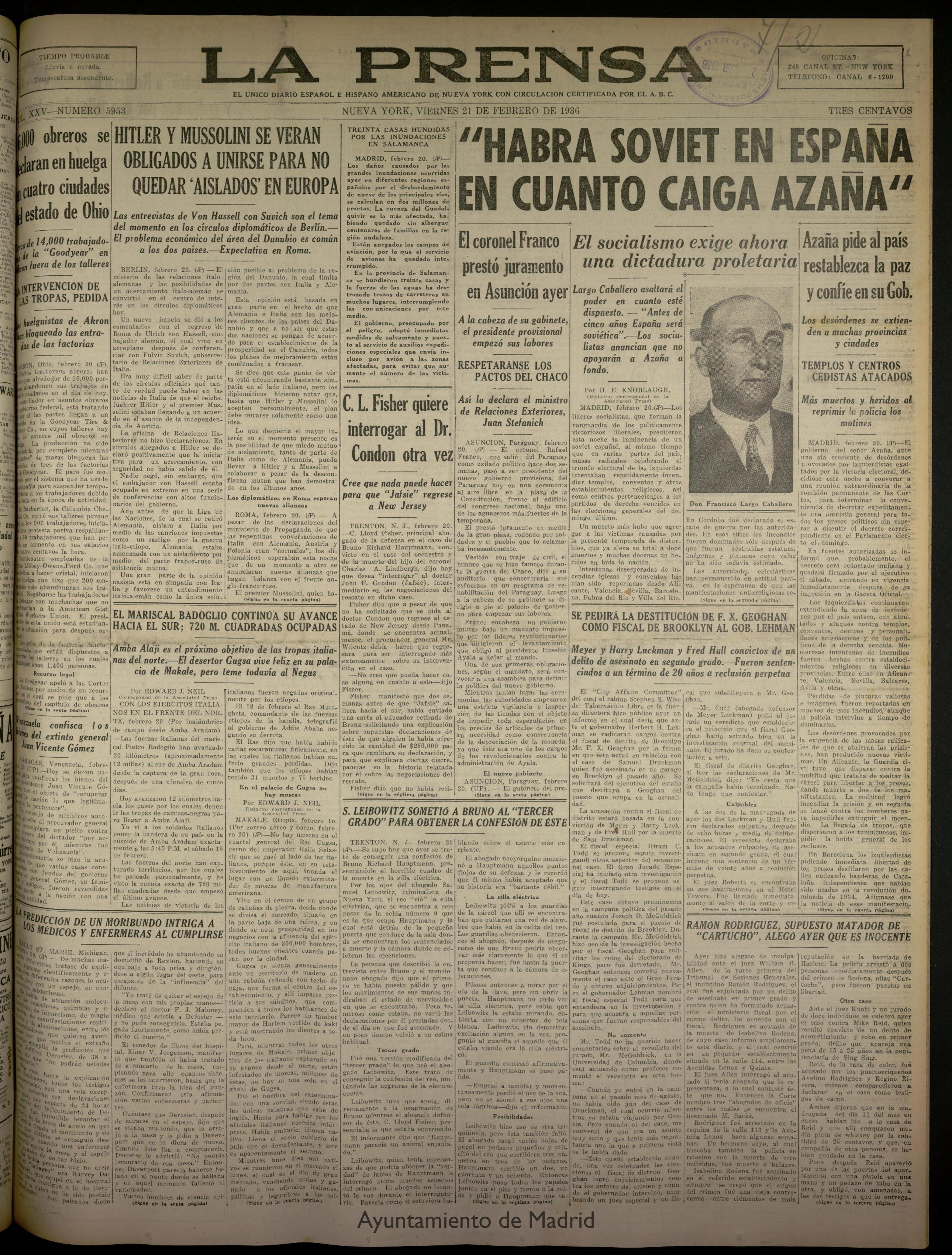 Portada del periódico 'La Prensa' del 21 de febrero de 1936.
