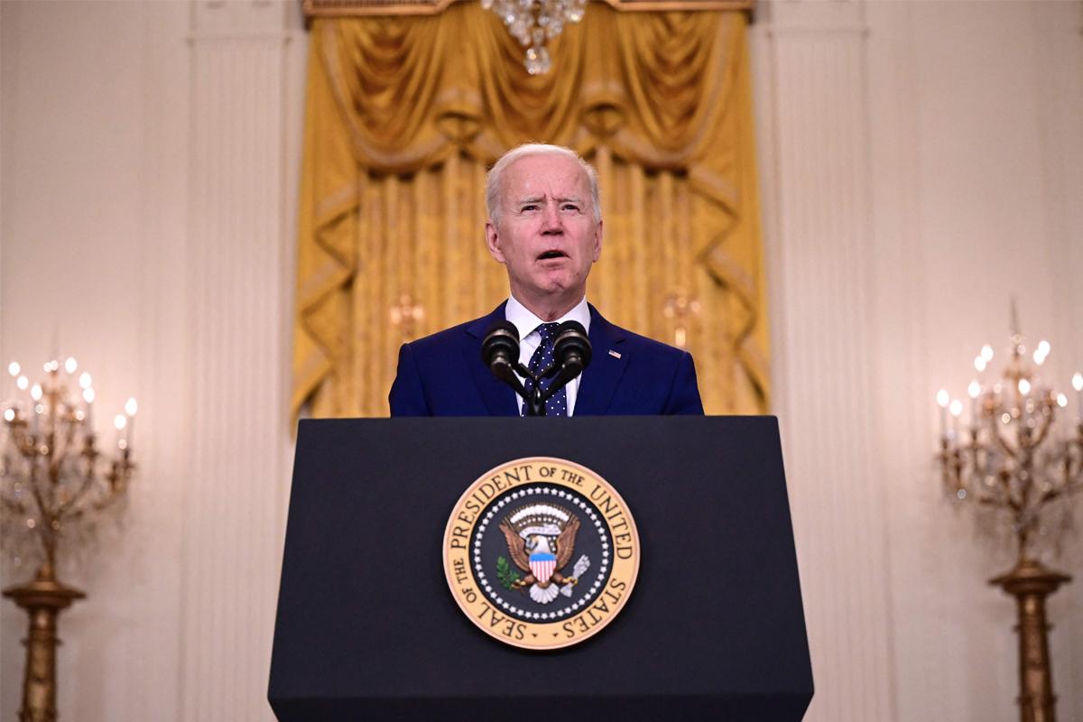 Biden, durante el discurso dirigido a Rusia.