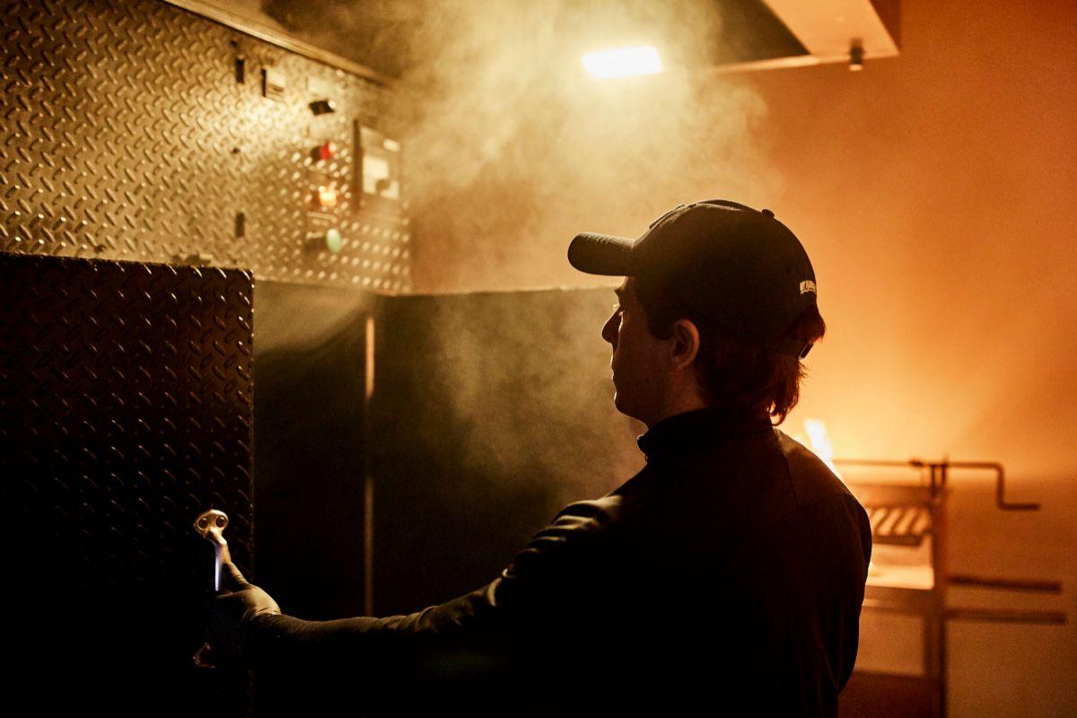 Pablo con el horno de Texas.
