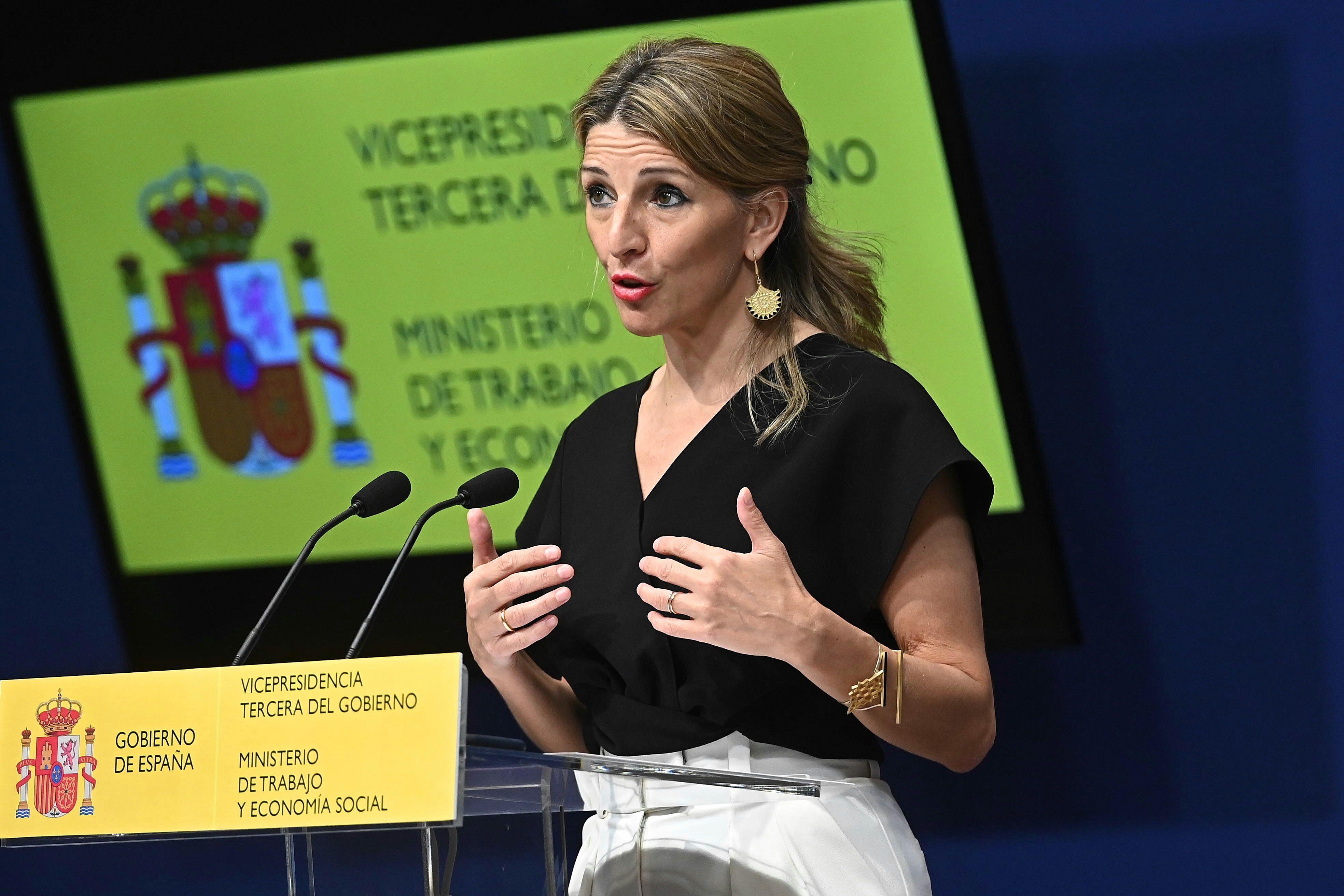 La ministra de Trabajo, Yolanda Díaz en la presentación de la propuesta para la Conferencia Sectorial en materia de Políticas Activas de Empleo.