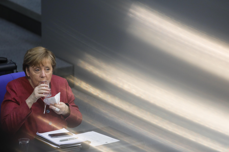 La canciller Angela Merkel, en el Bundestag
