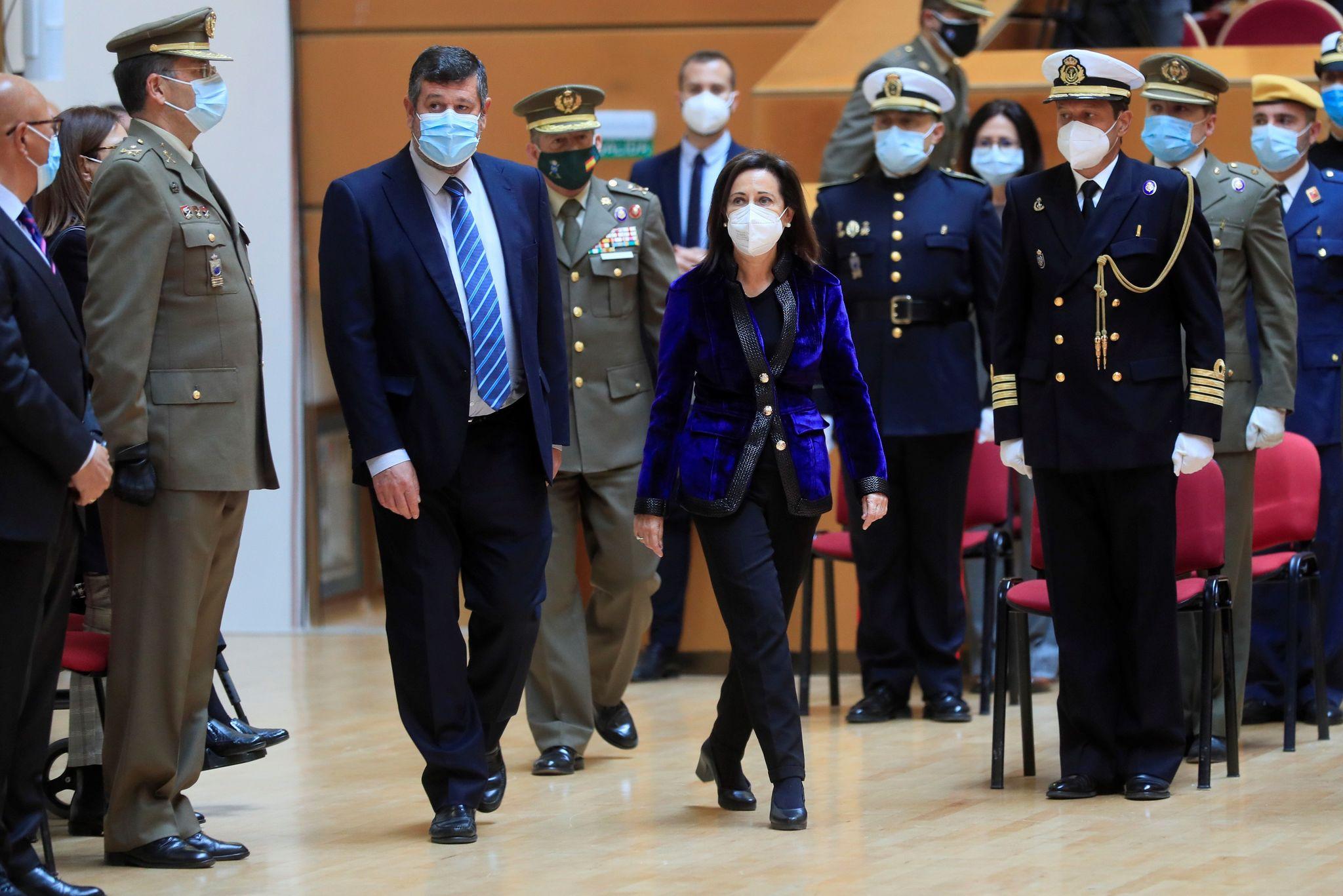 La ministra de Defensa, Margarita Robles, este jueves, en un acto.