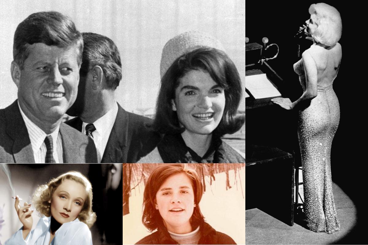 JFK con Jackie (arriba izqda.), Marilyn (dcha), Marlene Dietrich (abajo izqda.) y Mimi Beardsley (abajo centro).