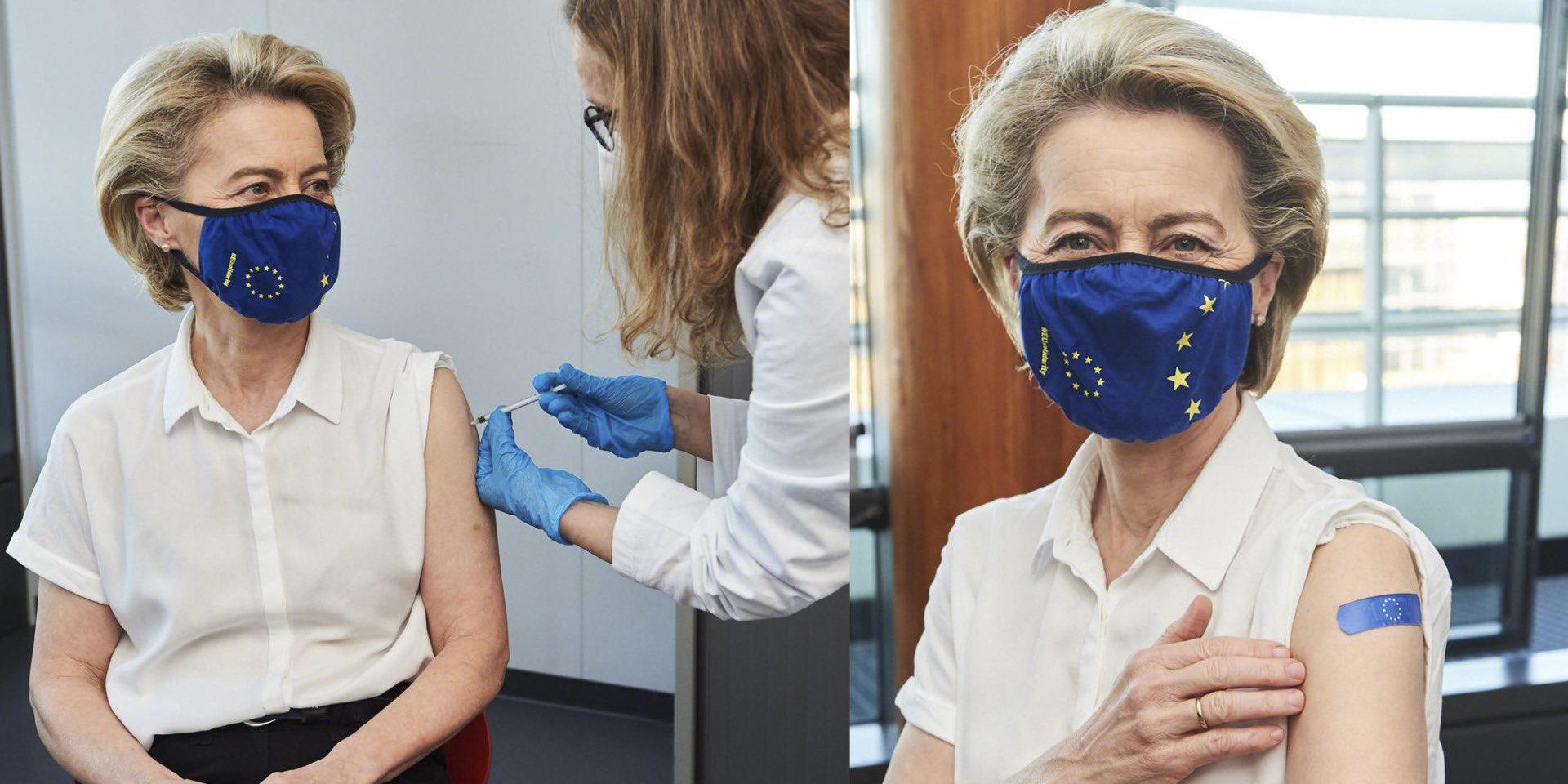 Ursula von der Leyen se vacuna.
