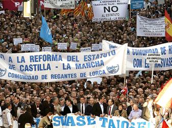 Manifestación en Murcia en 2009 a favor del trasvase.