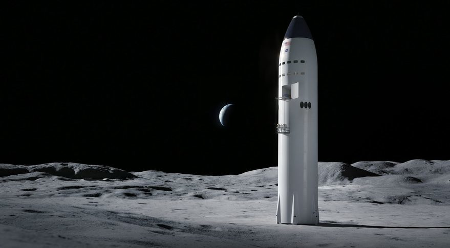 Recreación de la propuesta de SpaceX para alunizar
