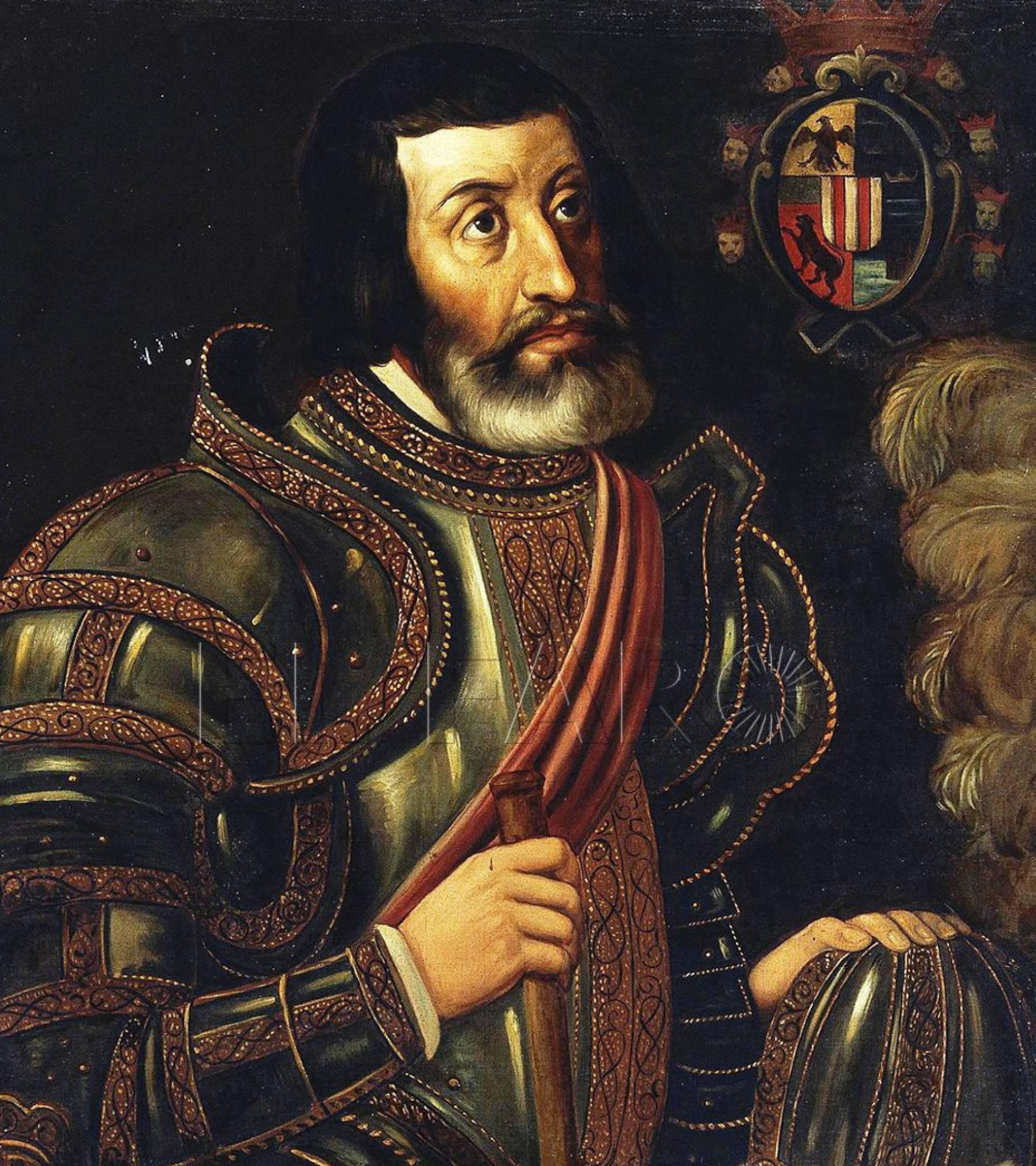 Hernán Cortés; cuadro de José Salomé Pina.