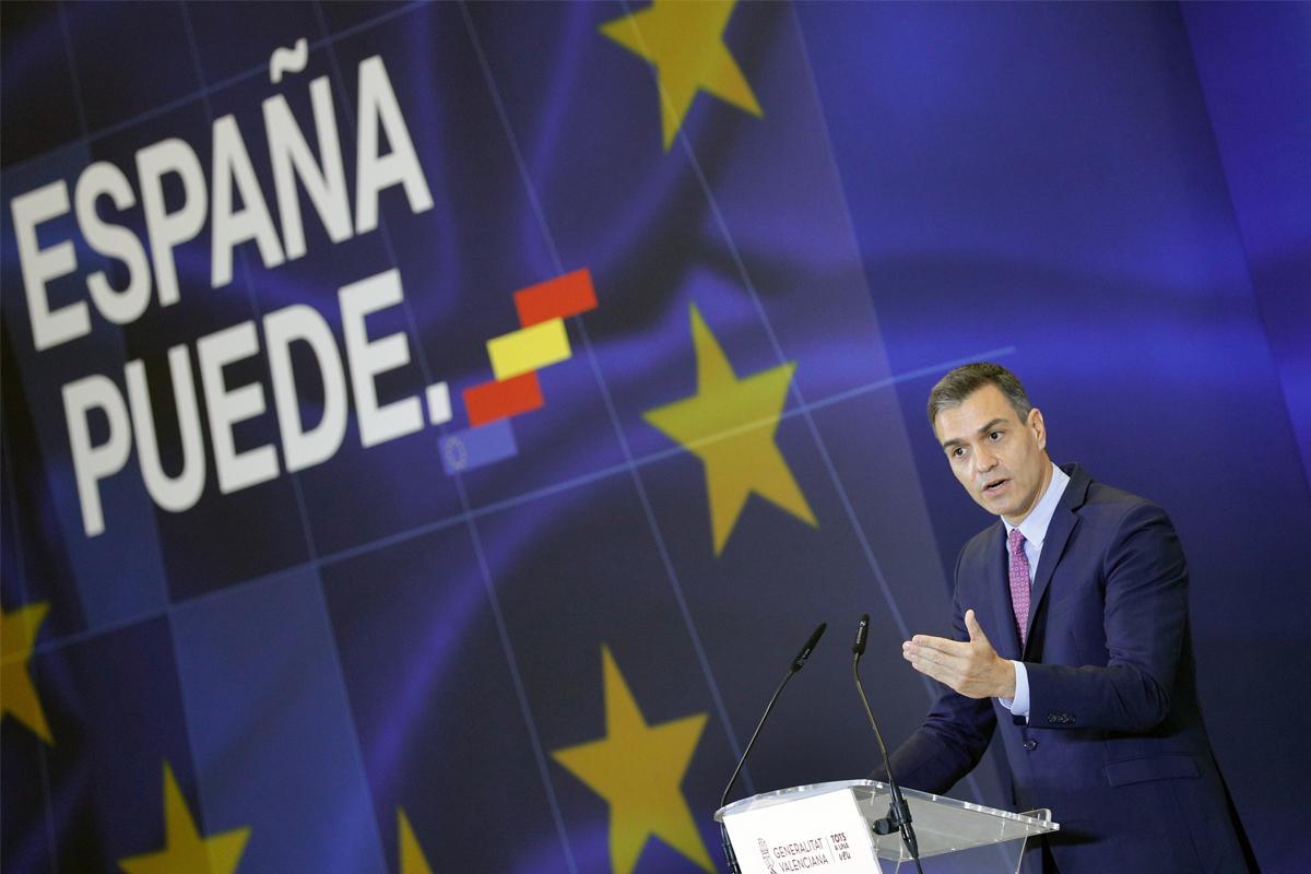 Pedro Sánchez, en la presentación del Plan de Recuperación en Valencia.