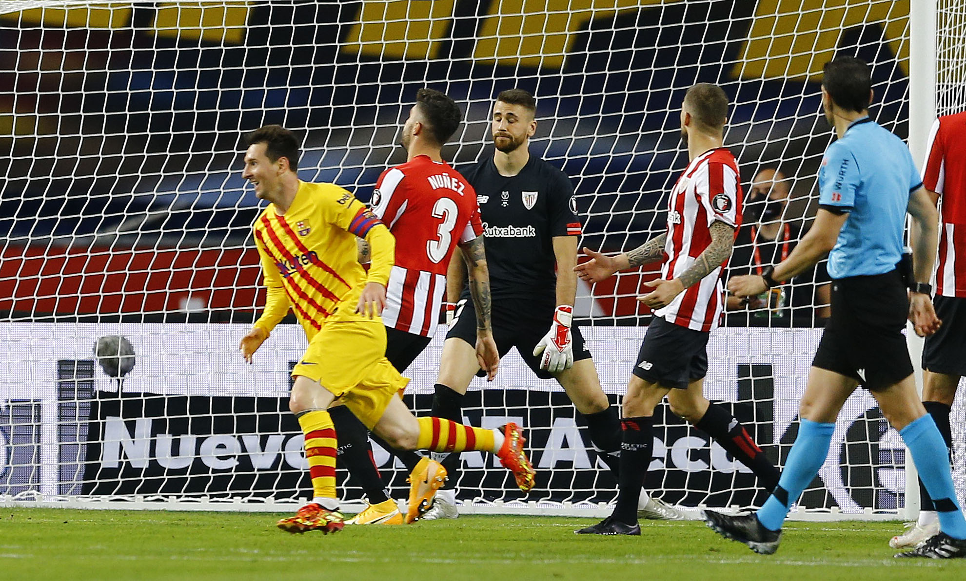 Messi, tras marcar el cuarto gol del Barça.