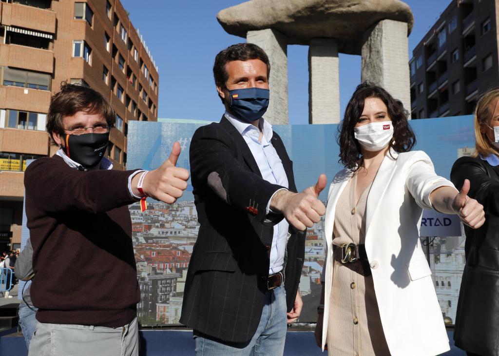 Almeida, Casado y Ayuso elecciones madrid