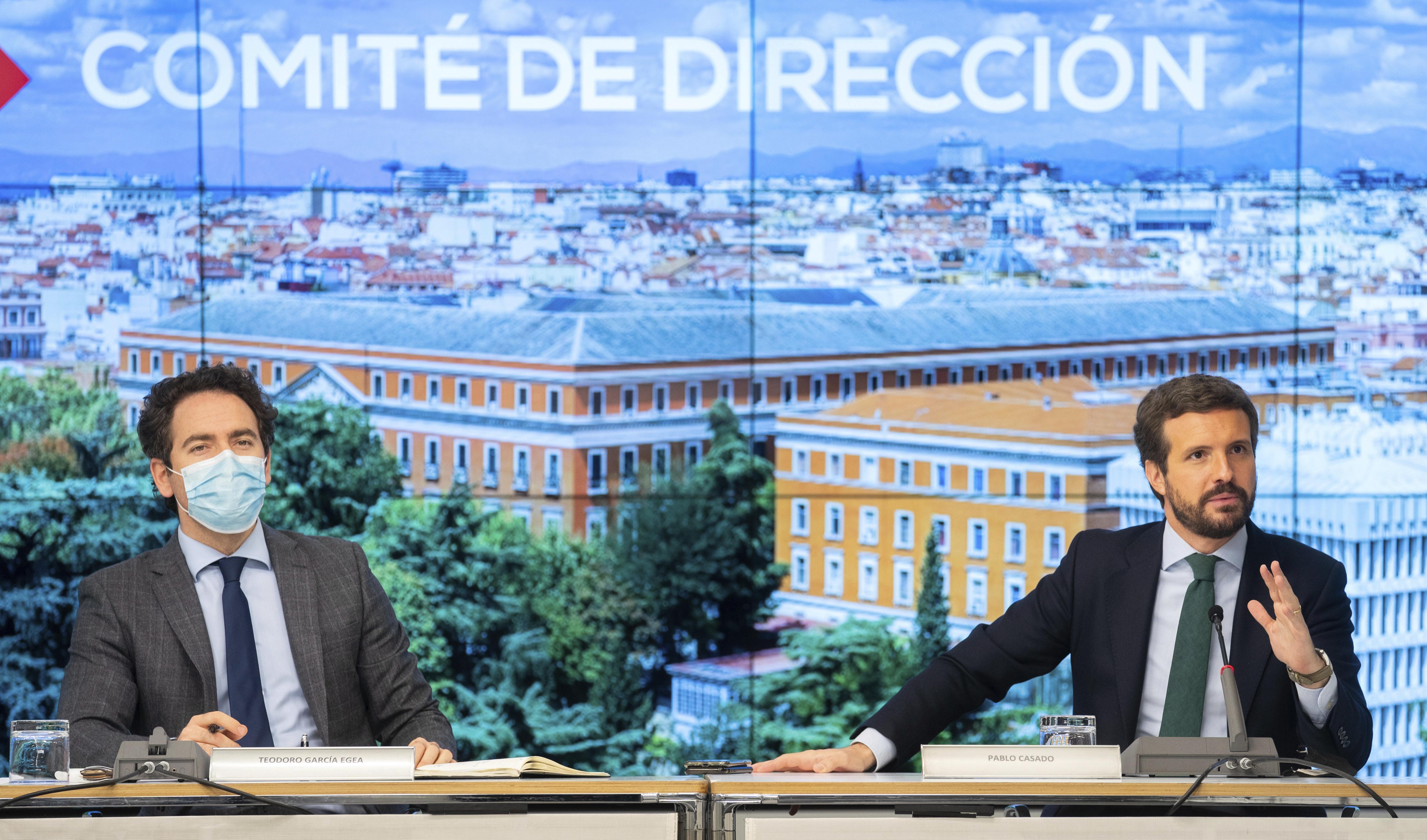 Pablo Casado y Teodoro García Egea, en el Comité de Dirección del PP.