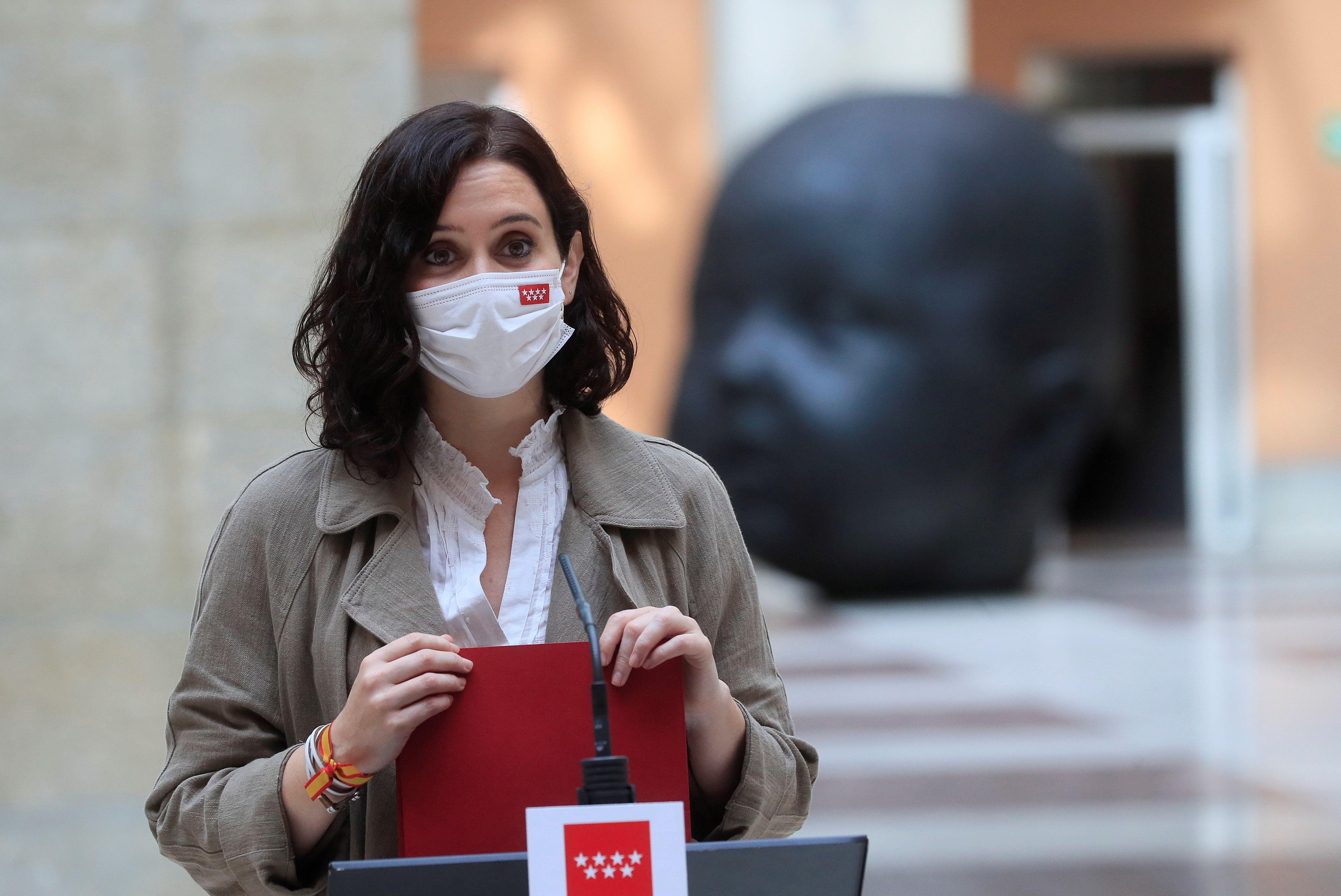 La presidenta madrileña, Isabel Díaz  Ayuso, este lunes.